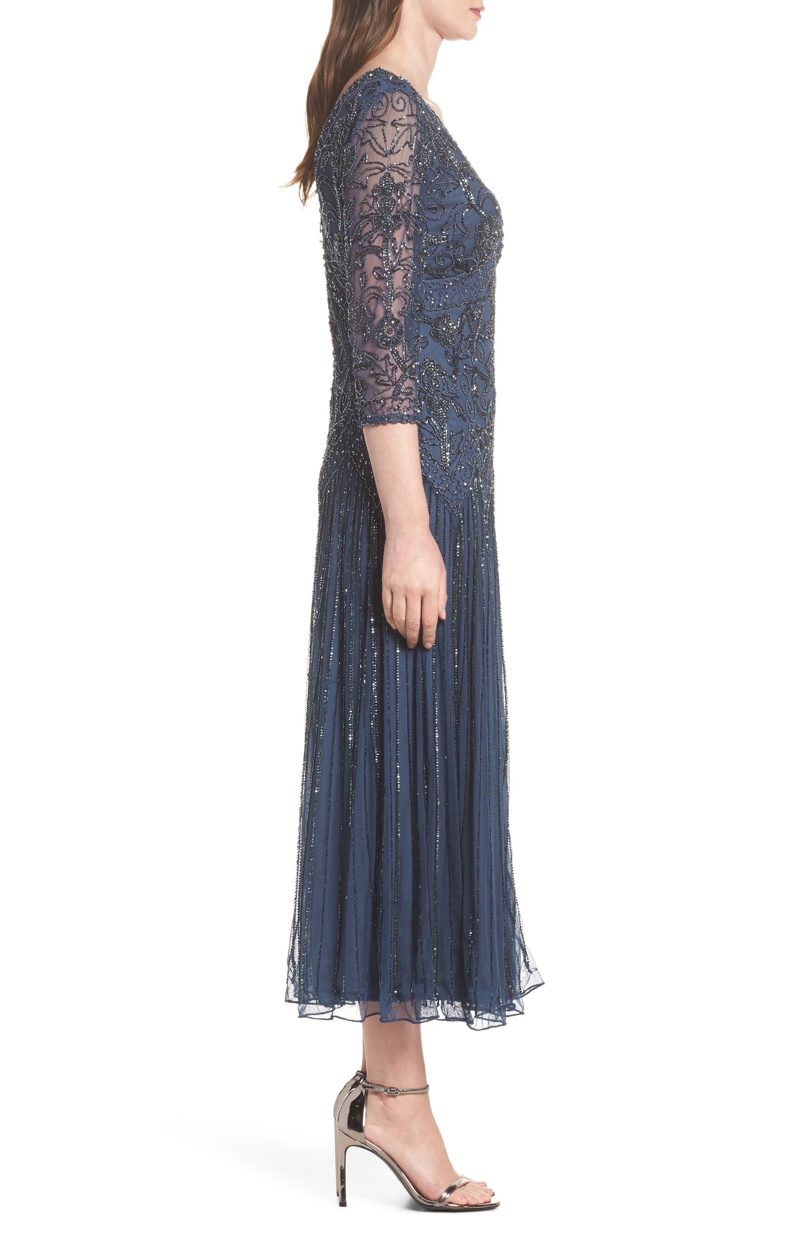 Beaded Mesh Tea Length Dress,                             Alternate thumbnail 3, color,                             Blue