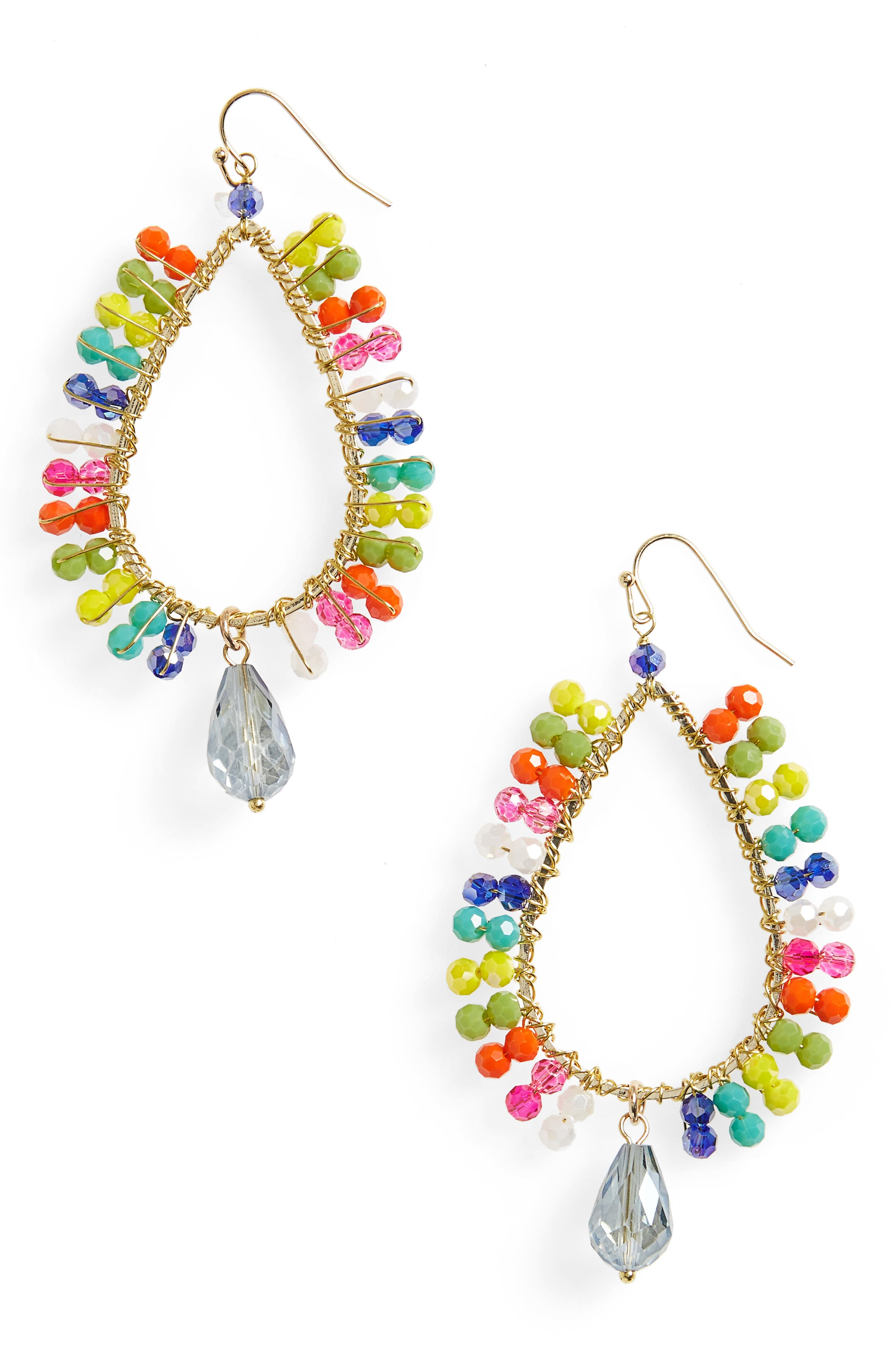 Beaded Teardrop Hoop Earring,                             Main thumbnail 1, color,                             Yellow Multi