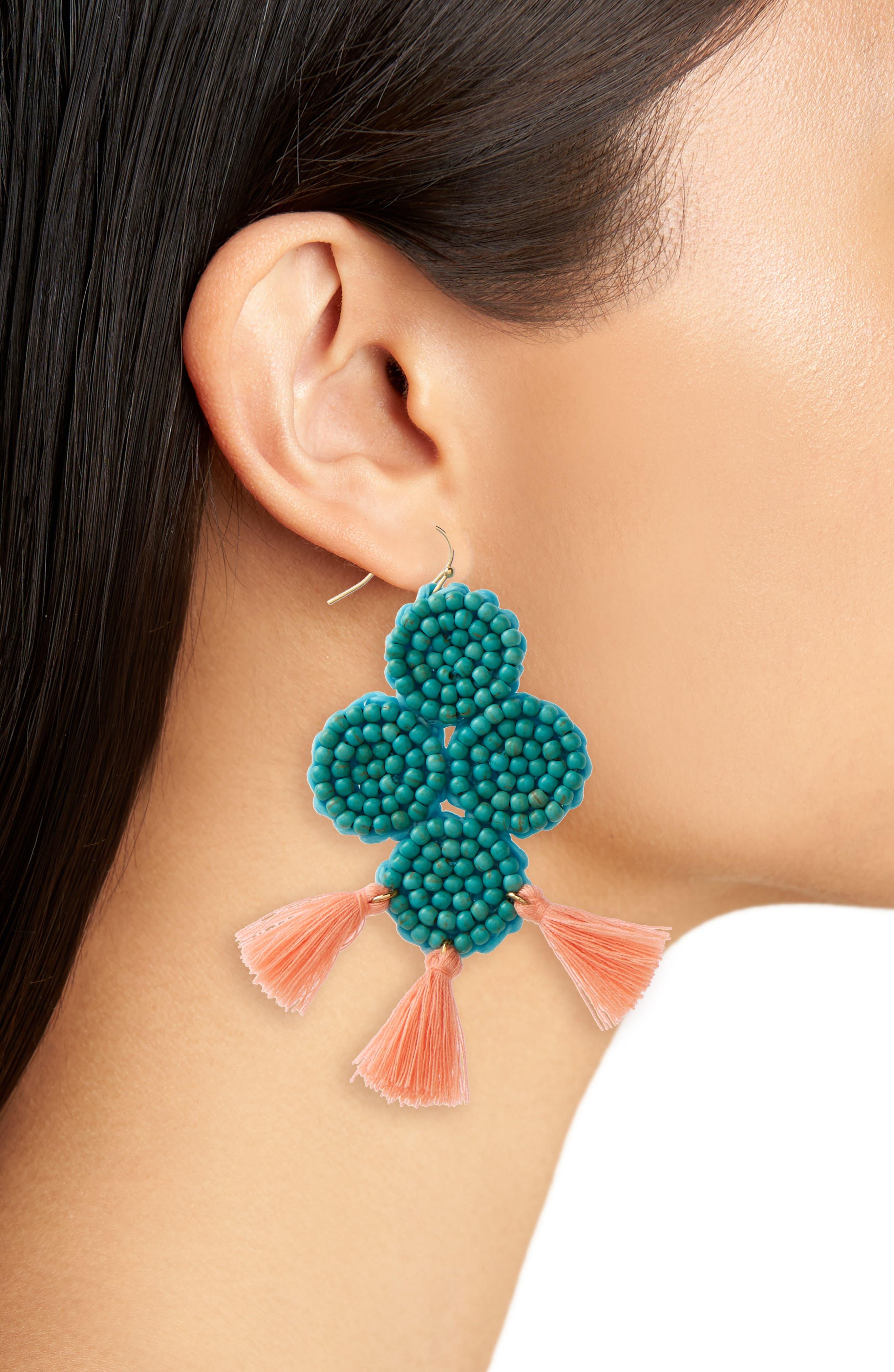 Beaded Statement Earrings,                             Alternate thumbnail 2, color,                             Blue Multi