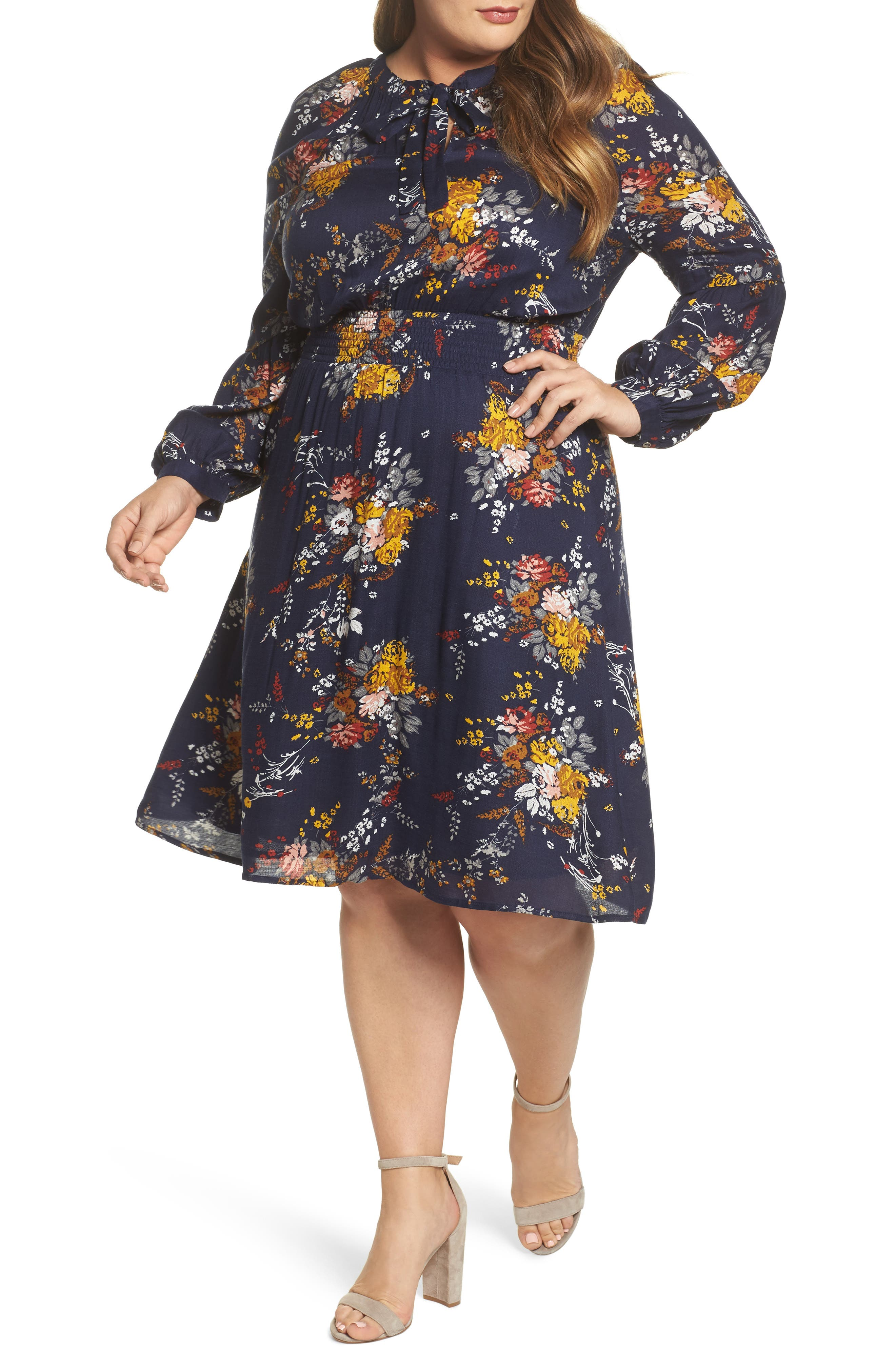 Lucky Brand Tie Neck Floral Print Dress (Plus Size)