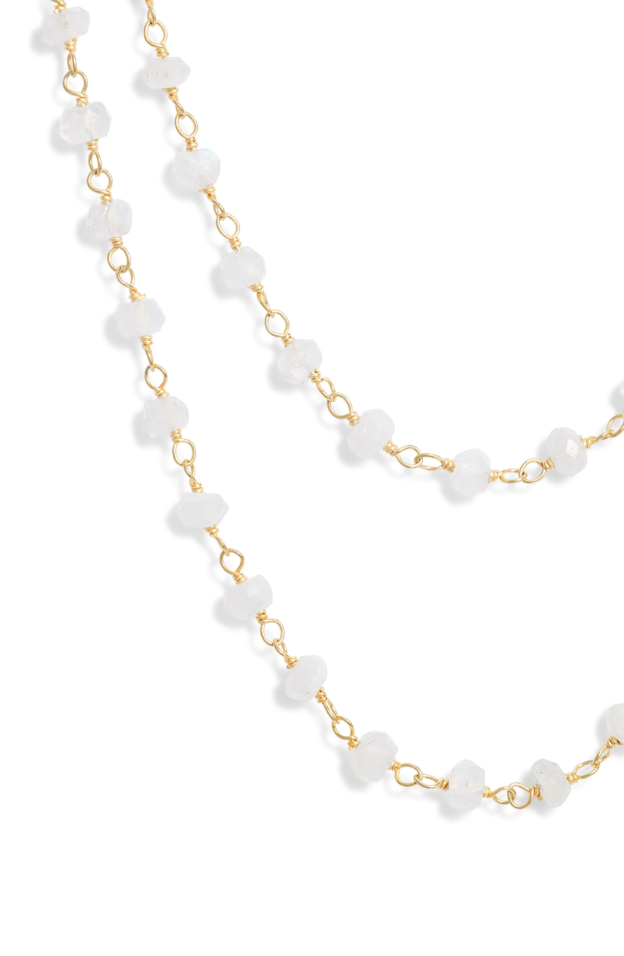 Beaded Wrap Necklace,                             Alternate thumbnail 2, color,                             Gold/ Moonstone