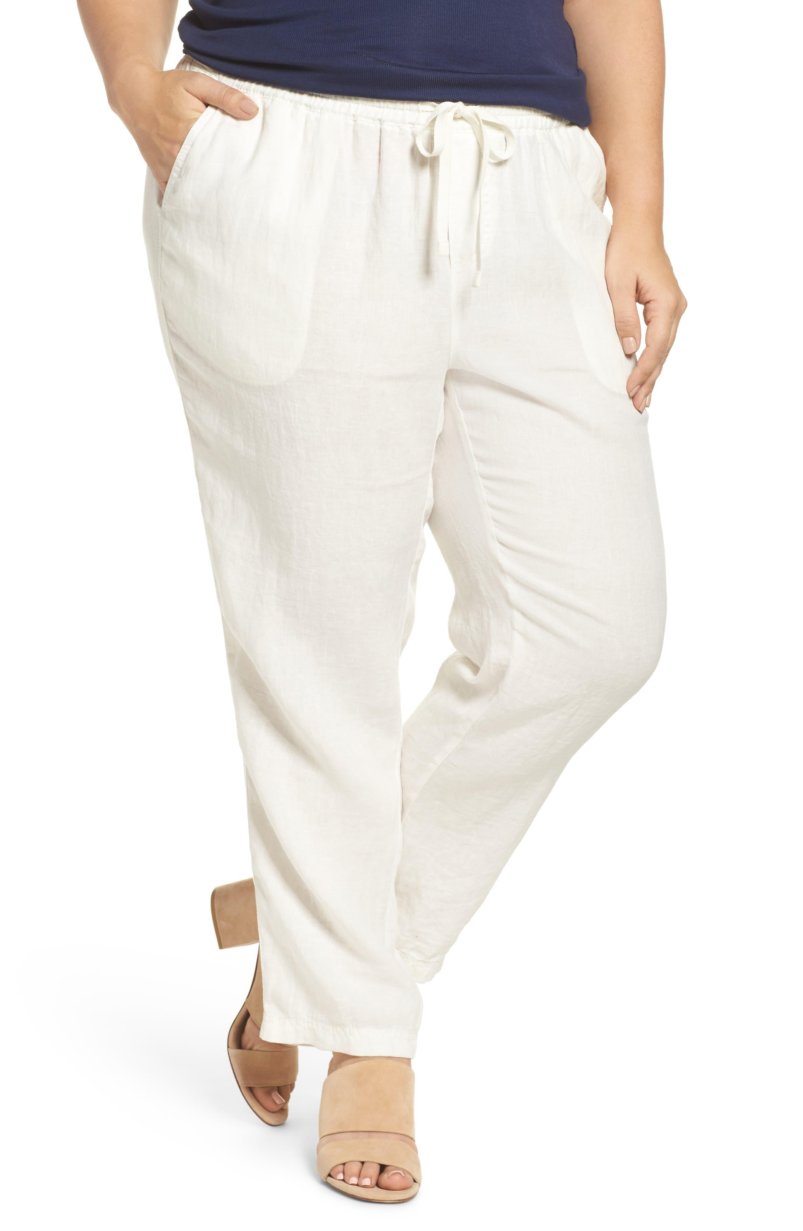 Linen Drawstring Pants,                         Main,                         color, Ivory Cloud