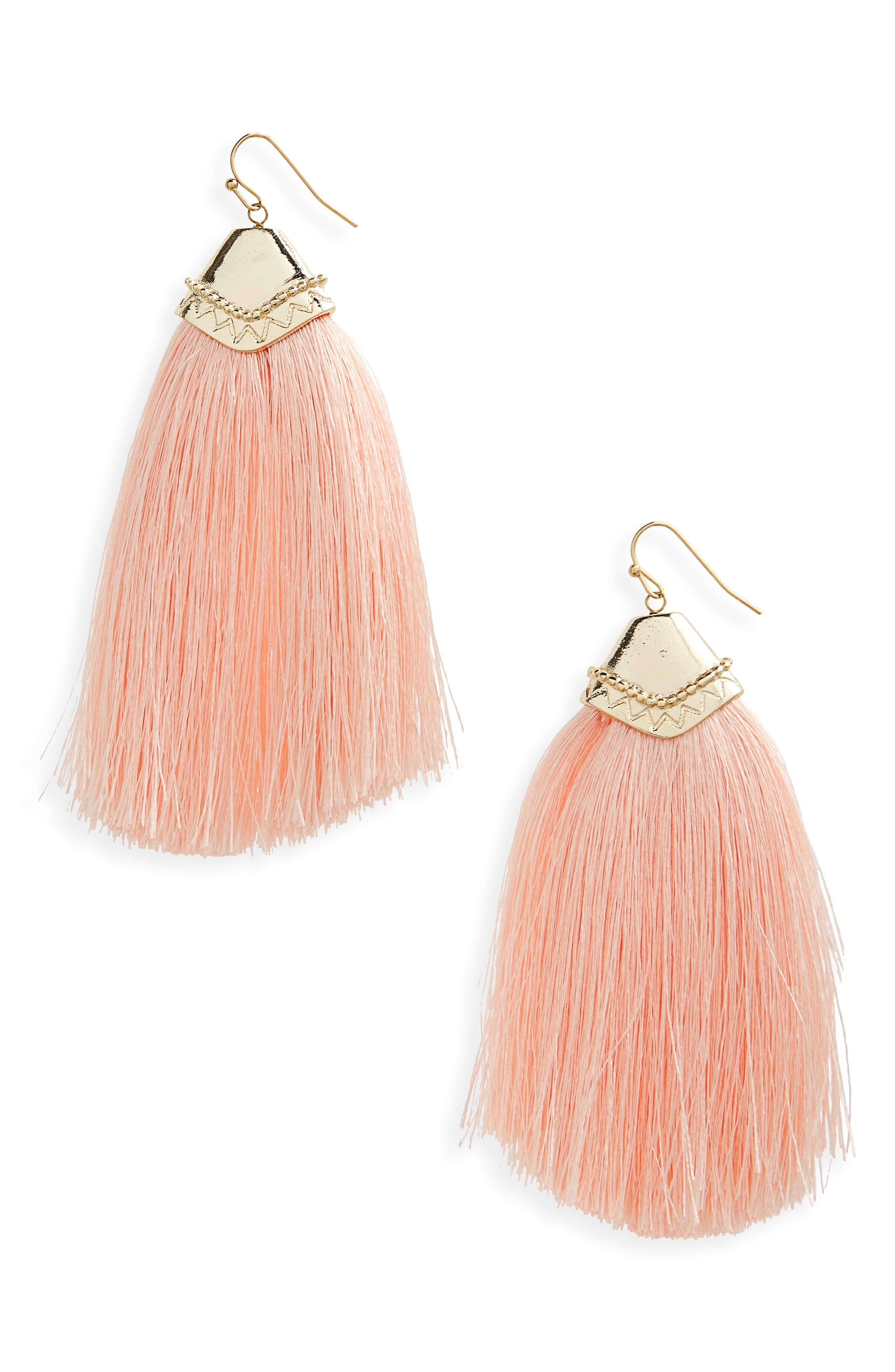 Fan Tassel Earrings,                             Main thumbnail 1, color,                             Peach