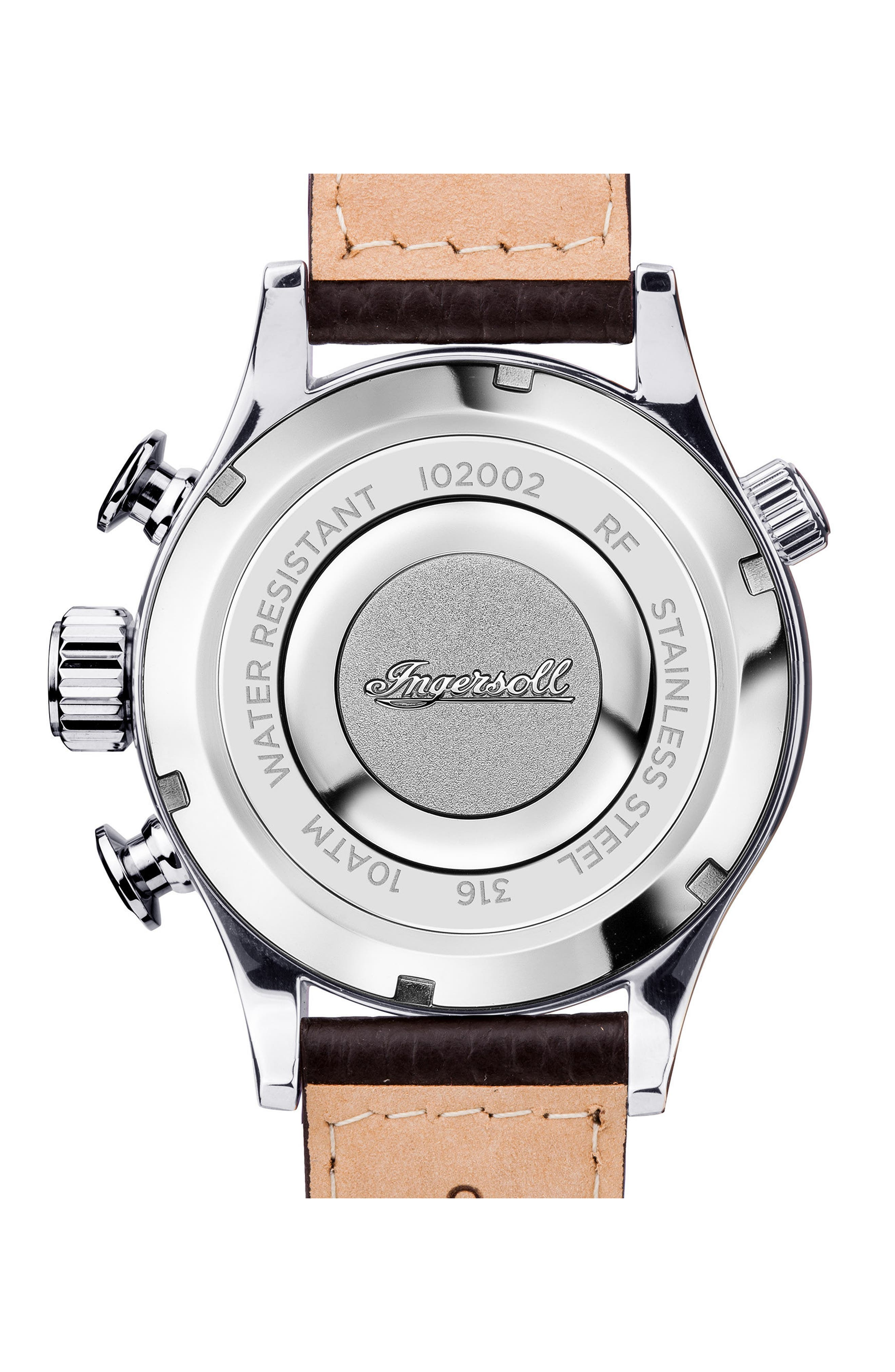 Ingersoll Chronograph Leather Strap Watch, 46mm,                             Alternate thumbnail 2, color,                             Black/ Beige/ Silver