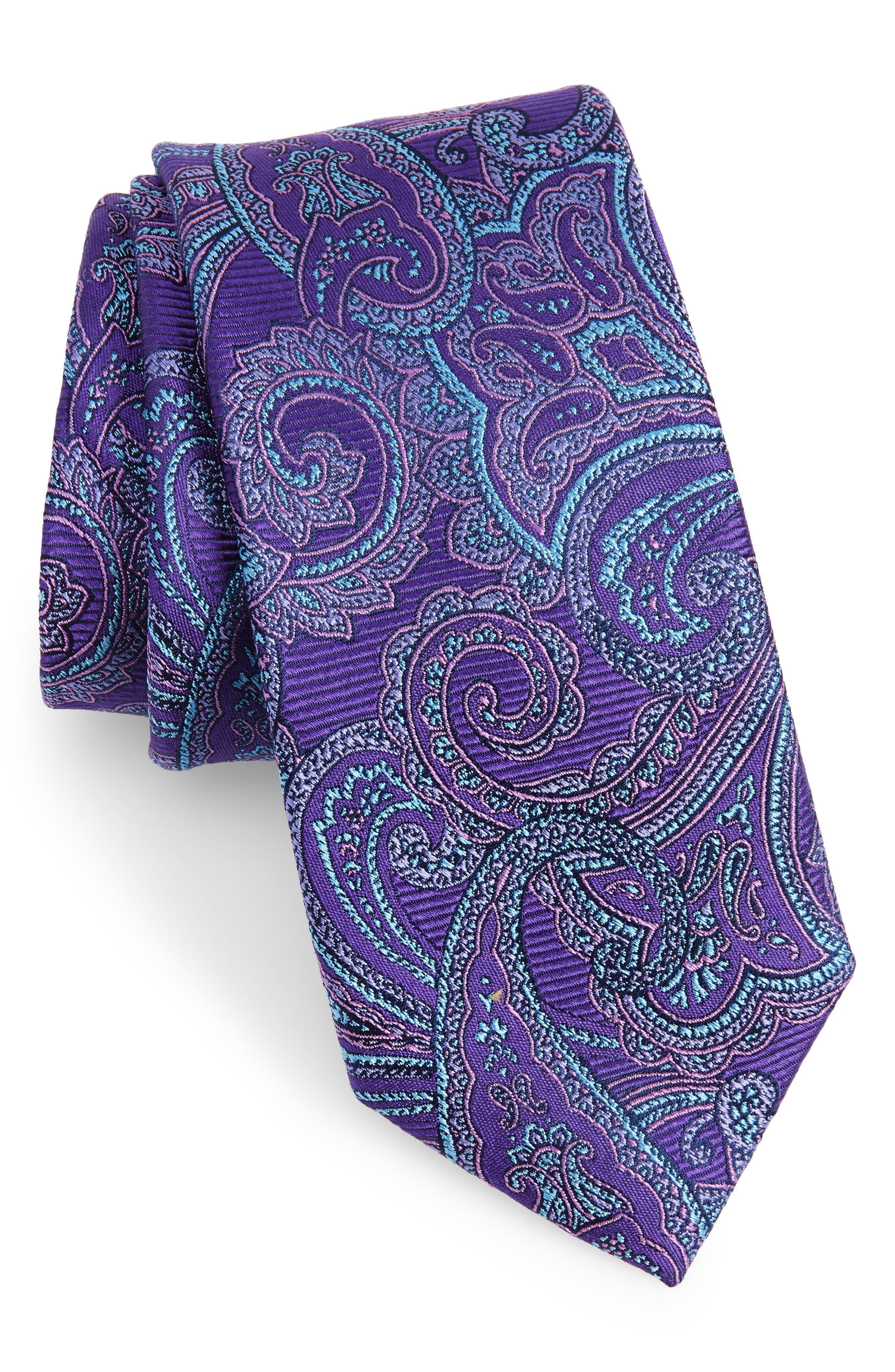 Avalon Paisley Silk Tie,                         Main,                         color, Purple