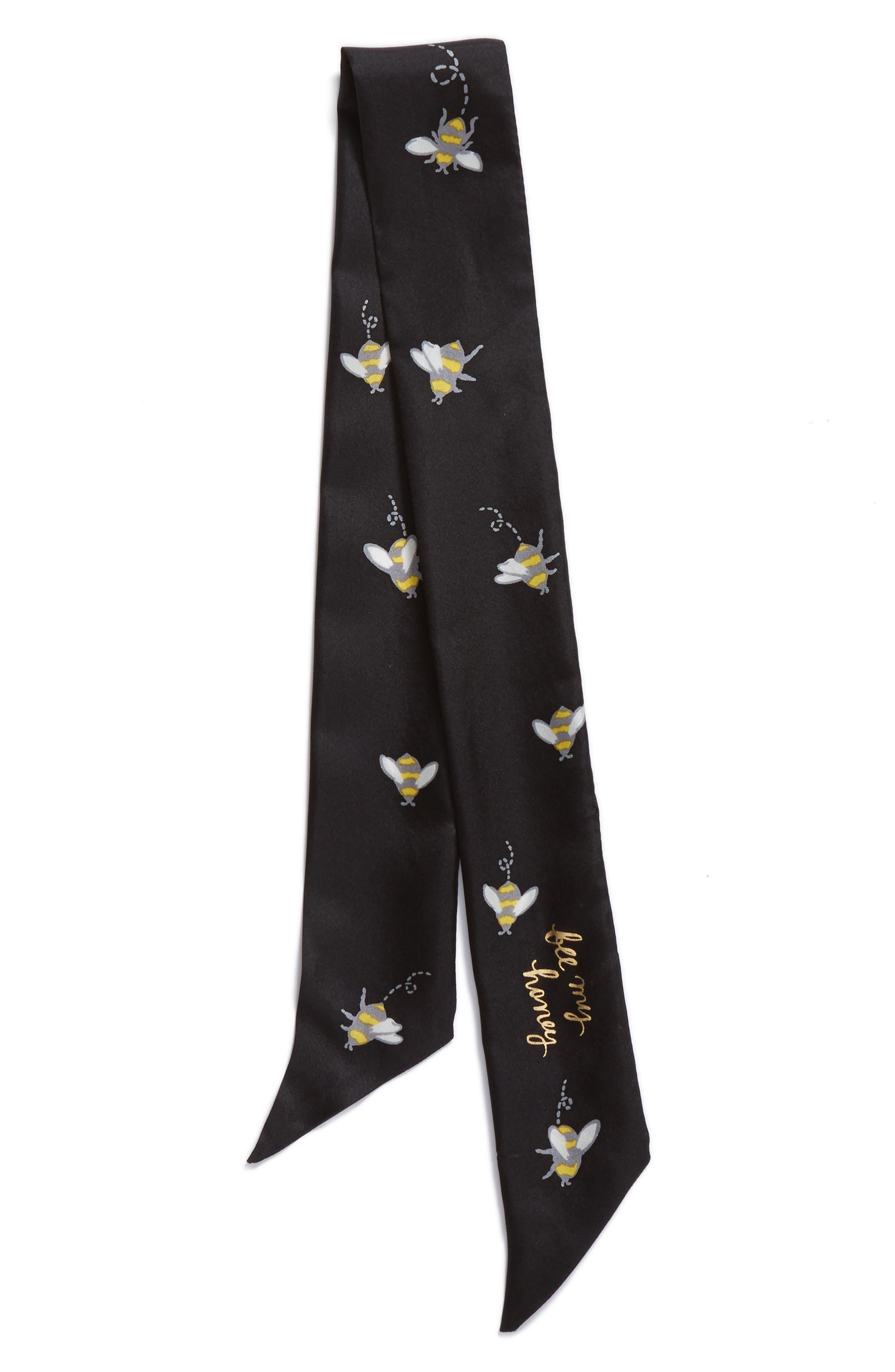 abuzz skinny silk scarf,                             Alternate thumbnail 3, color,                             Black