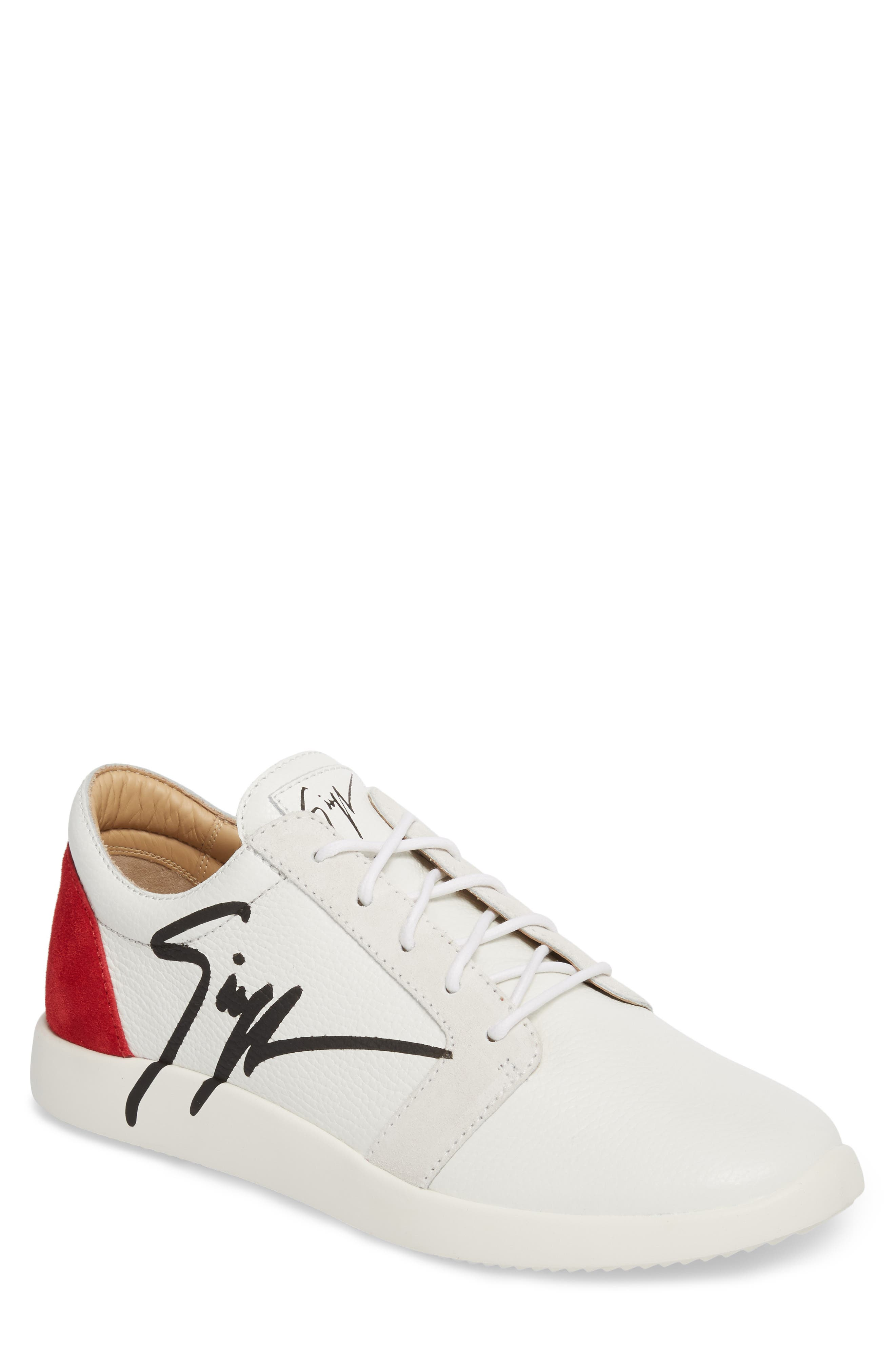 Signature Sneaker,                         Main,                         color, White W/ Red Counter