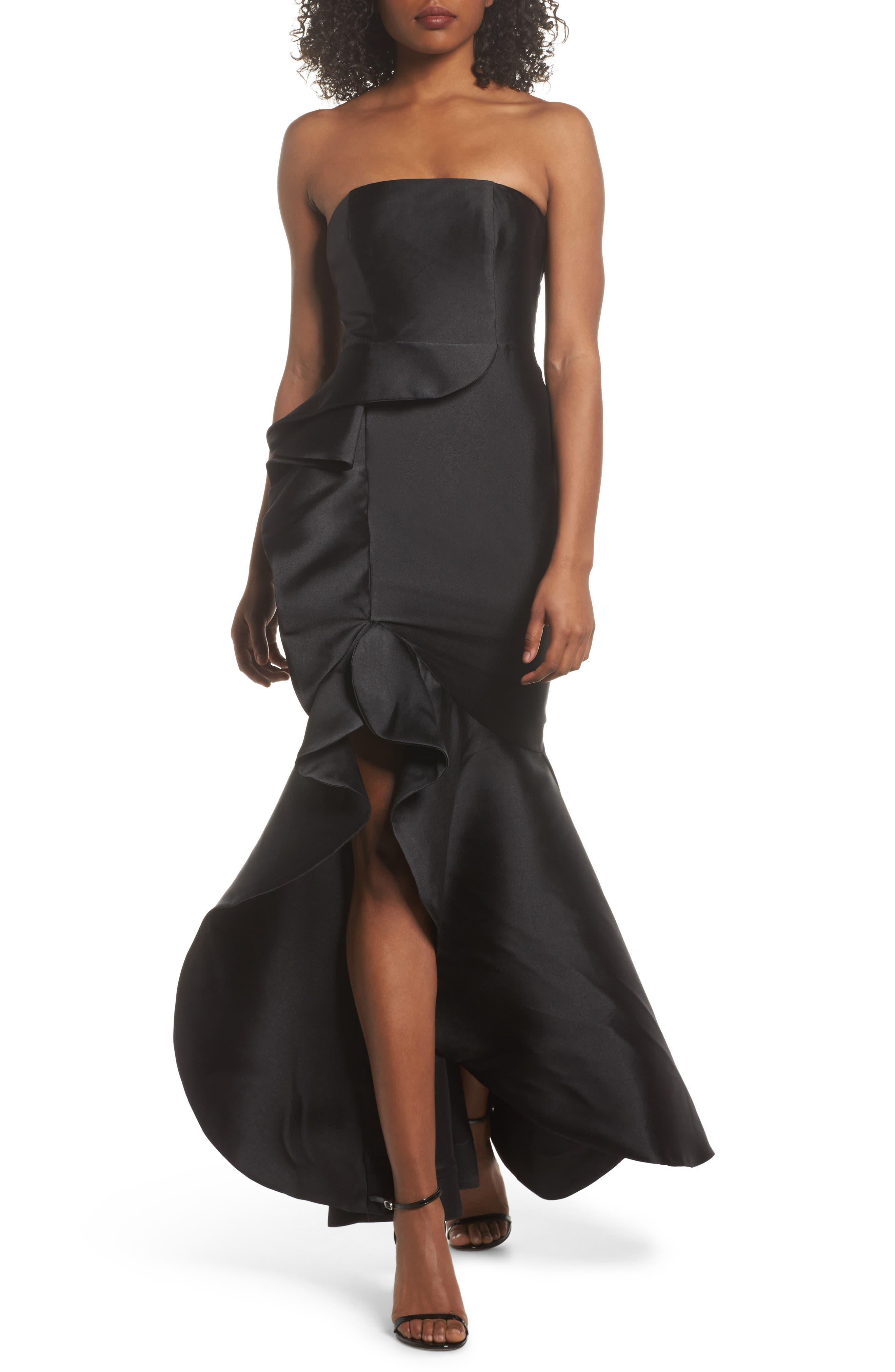 Sellers High/Low Mermaid Gown,                             Main thumbnail 1, color,                             Black