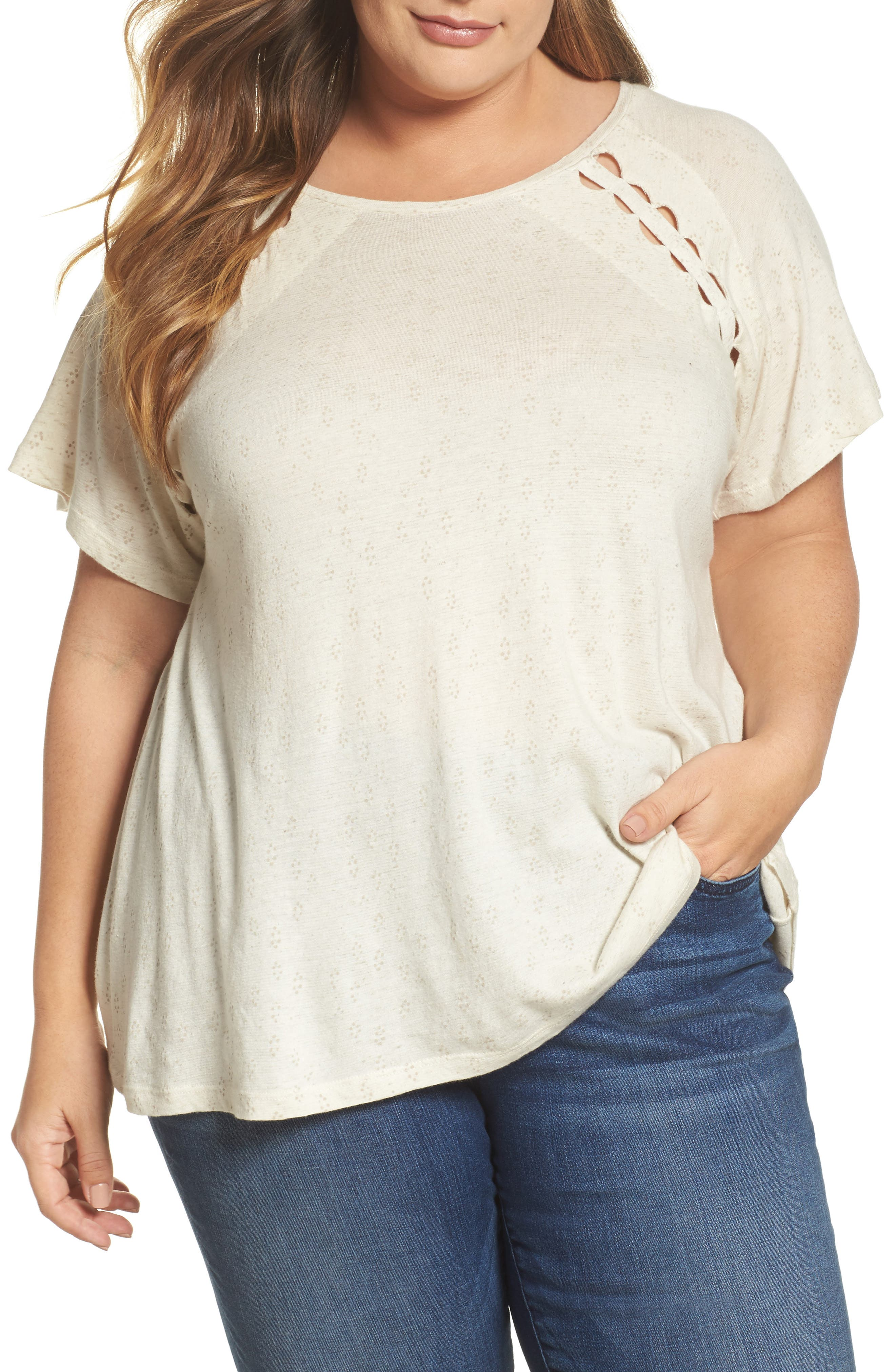 Lucky Brand Cutout Tee (Plus Size)