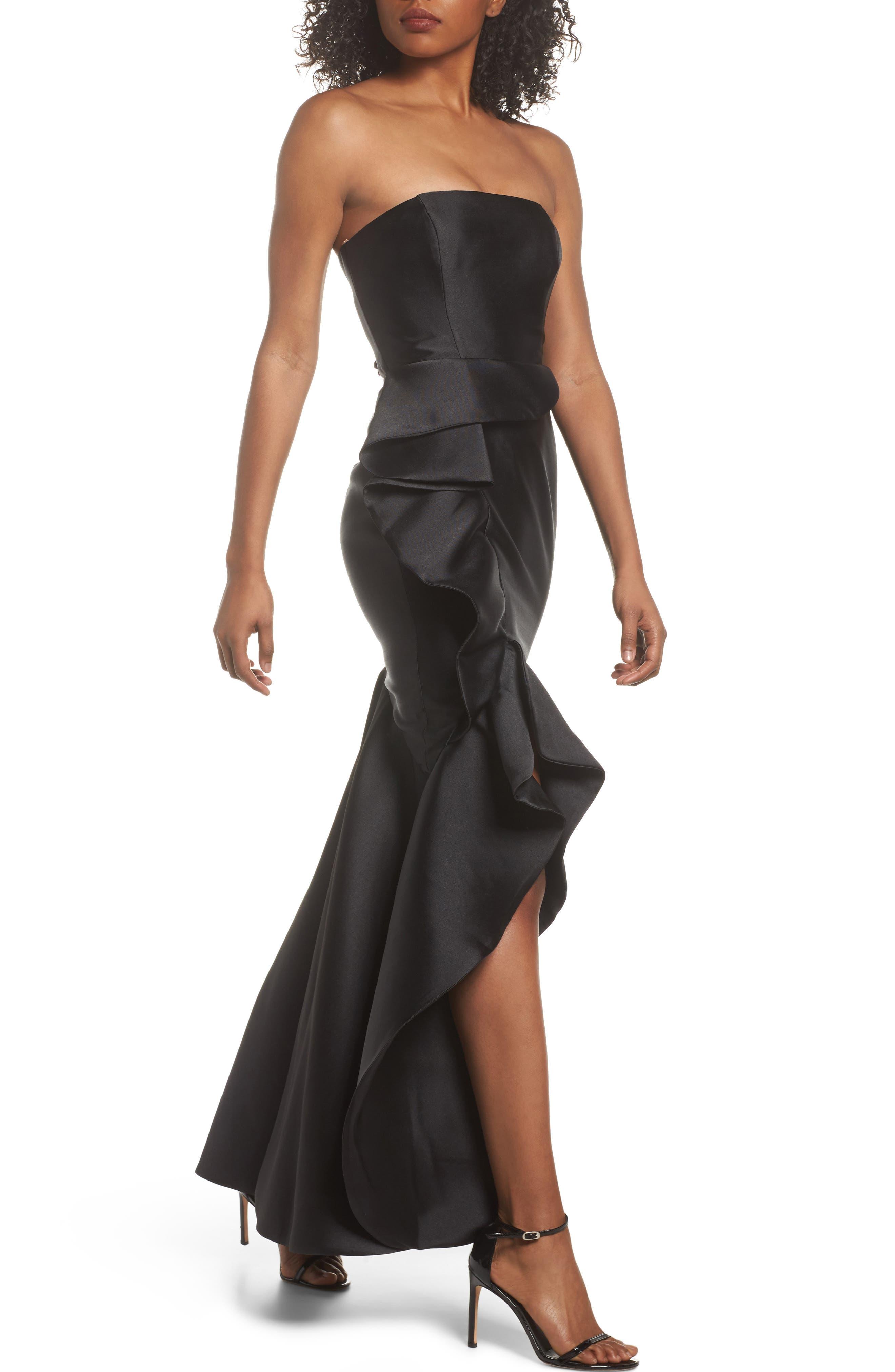 Sellers High/Low Mermaid Gown,                             Alternate thumbnail 2, color,                             Black