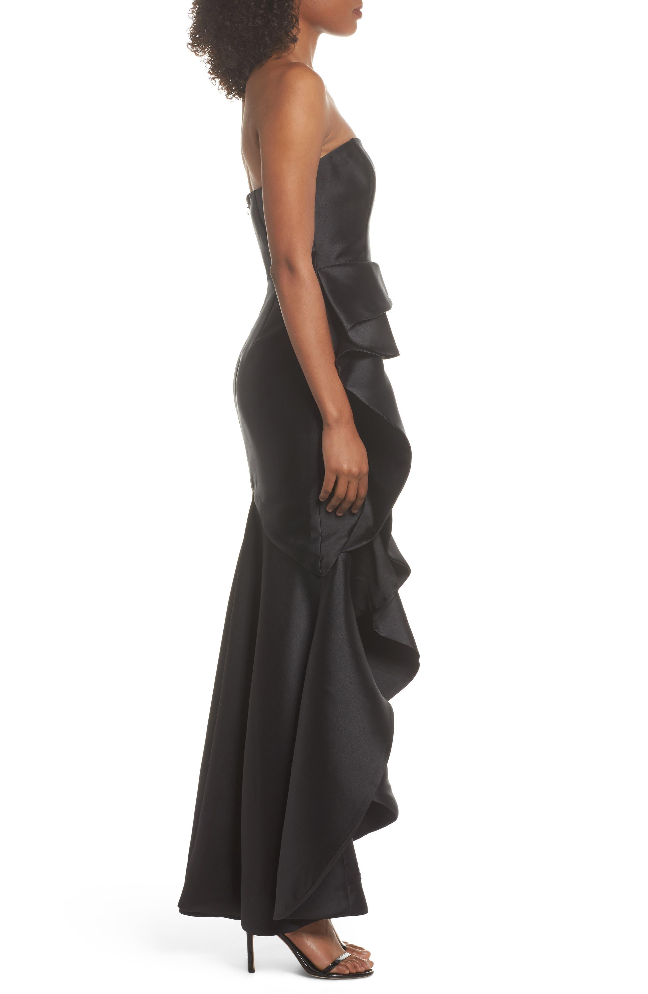 Sellers High/Low Mermaid Gown,                             Alternate thumbnail 4, color,                             Black
