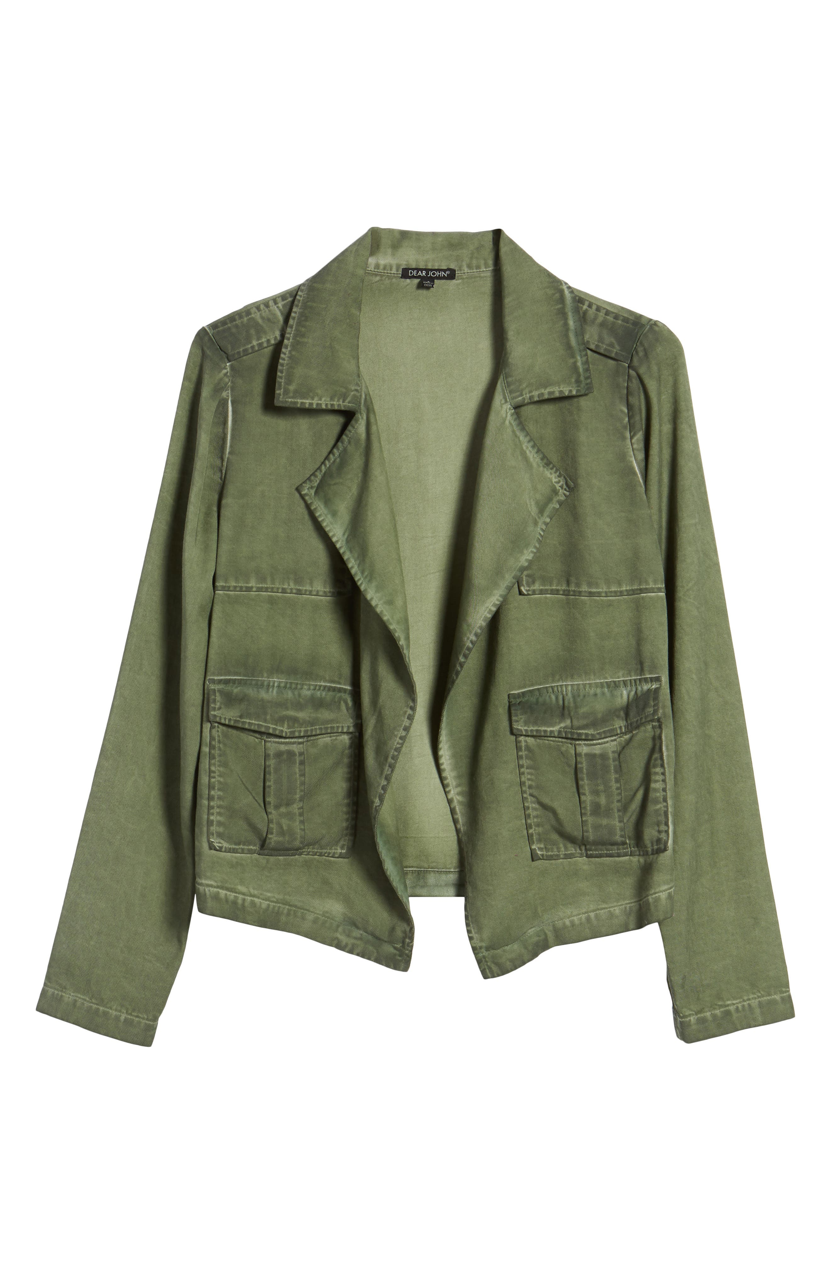 Draped Front Jacket,                             Alternate thumbnail 6, color,                             Olive