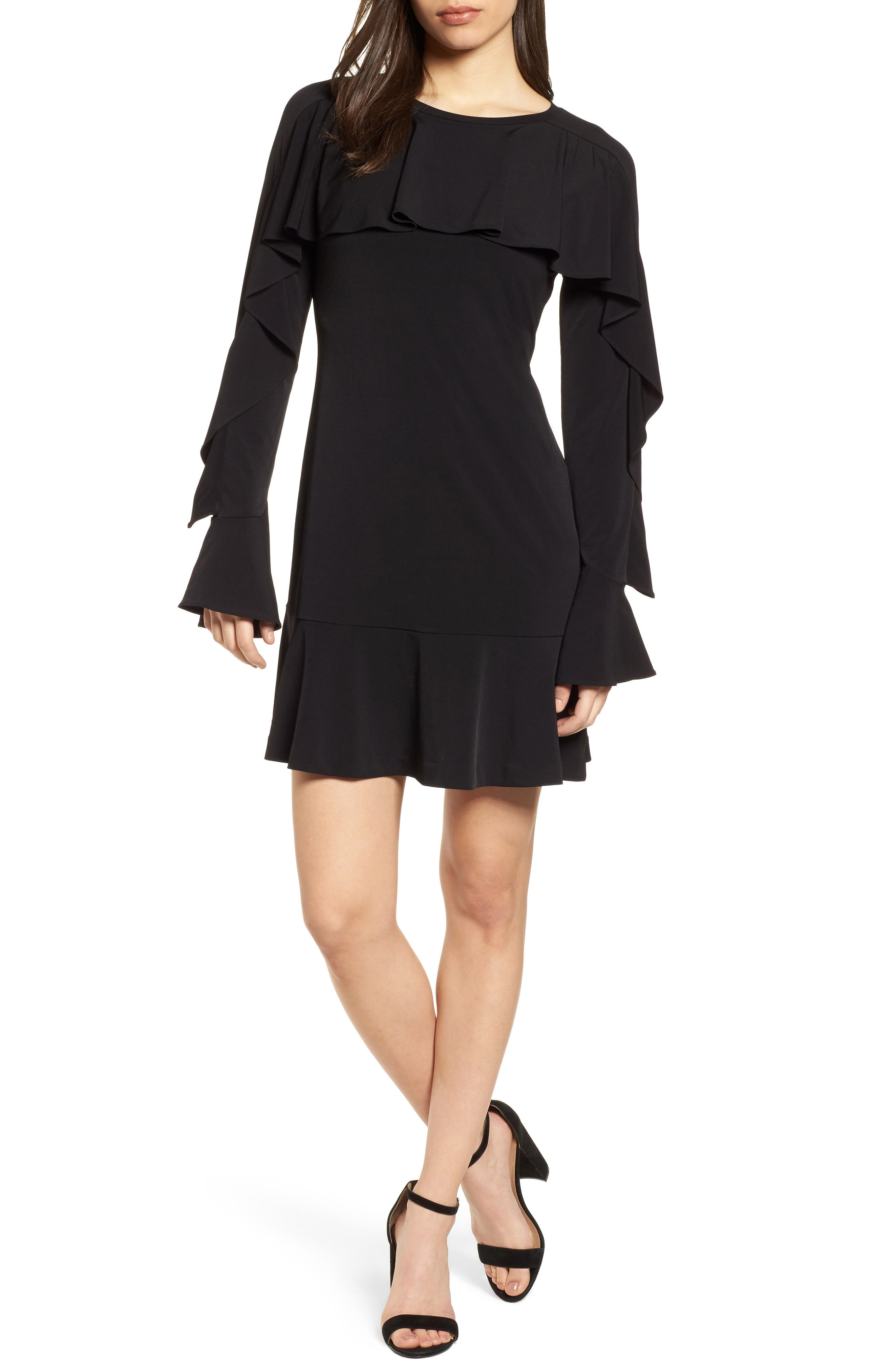 Flounce Panel Long Sleeve Dress,                             Main thumbnail 1, color,                             Black