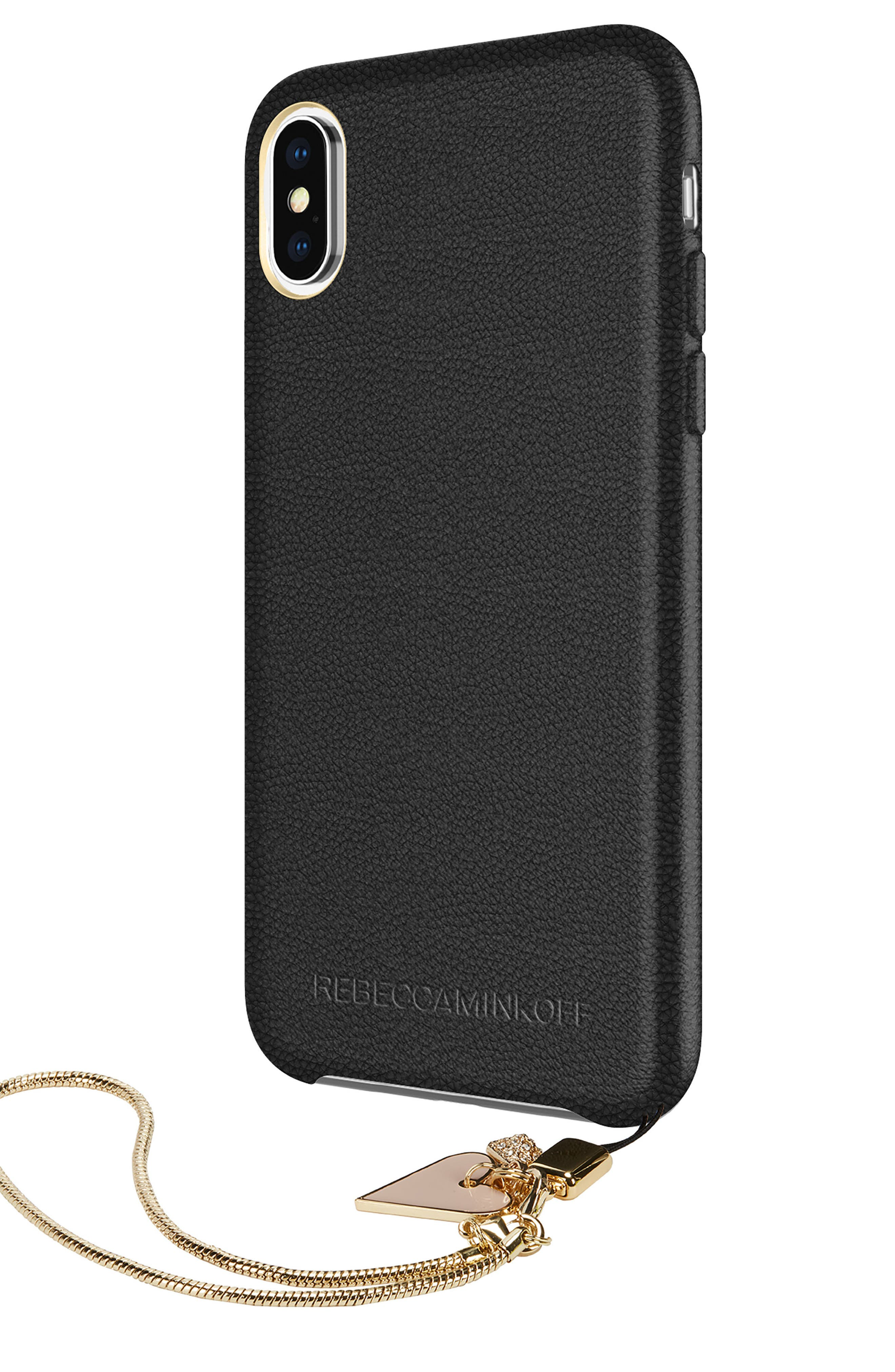 Leather iPhone X Wristlet Case with Charms,                             Alternate thumbnail 3, color,                             Black