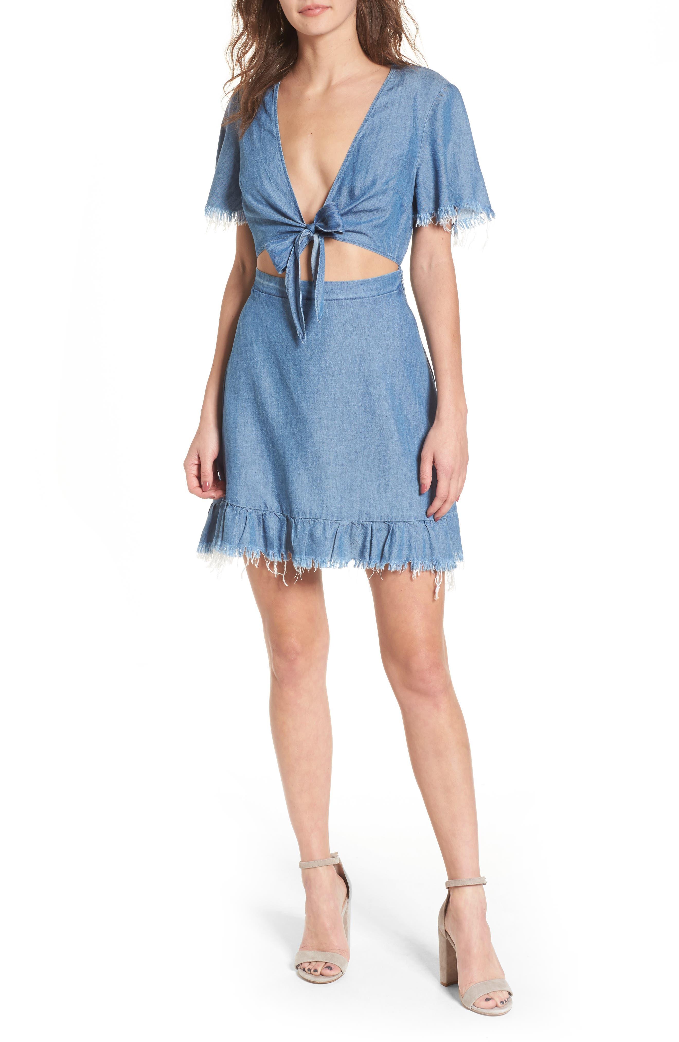 Melanie Ruffle Minidress,                         Main,                         color, Dark Chambray