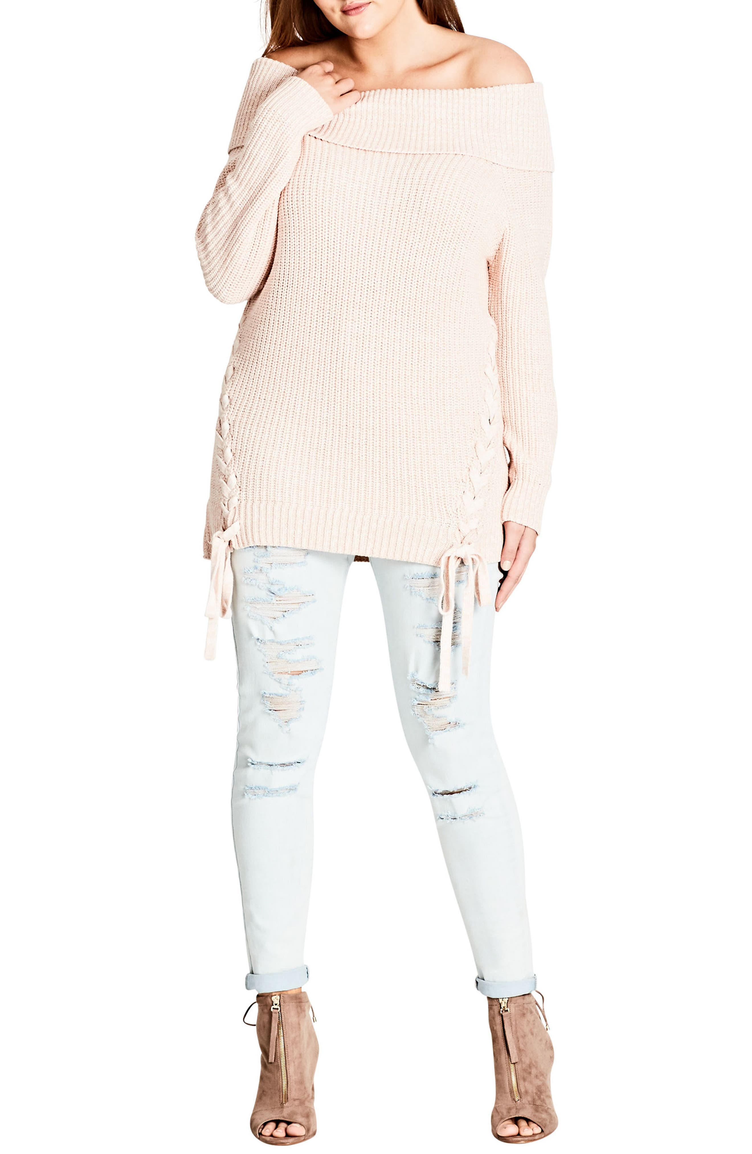 Alternate Image 3  - City Chic Intertwine Convertible Lace-Up Pullover (Plus Size)
