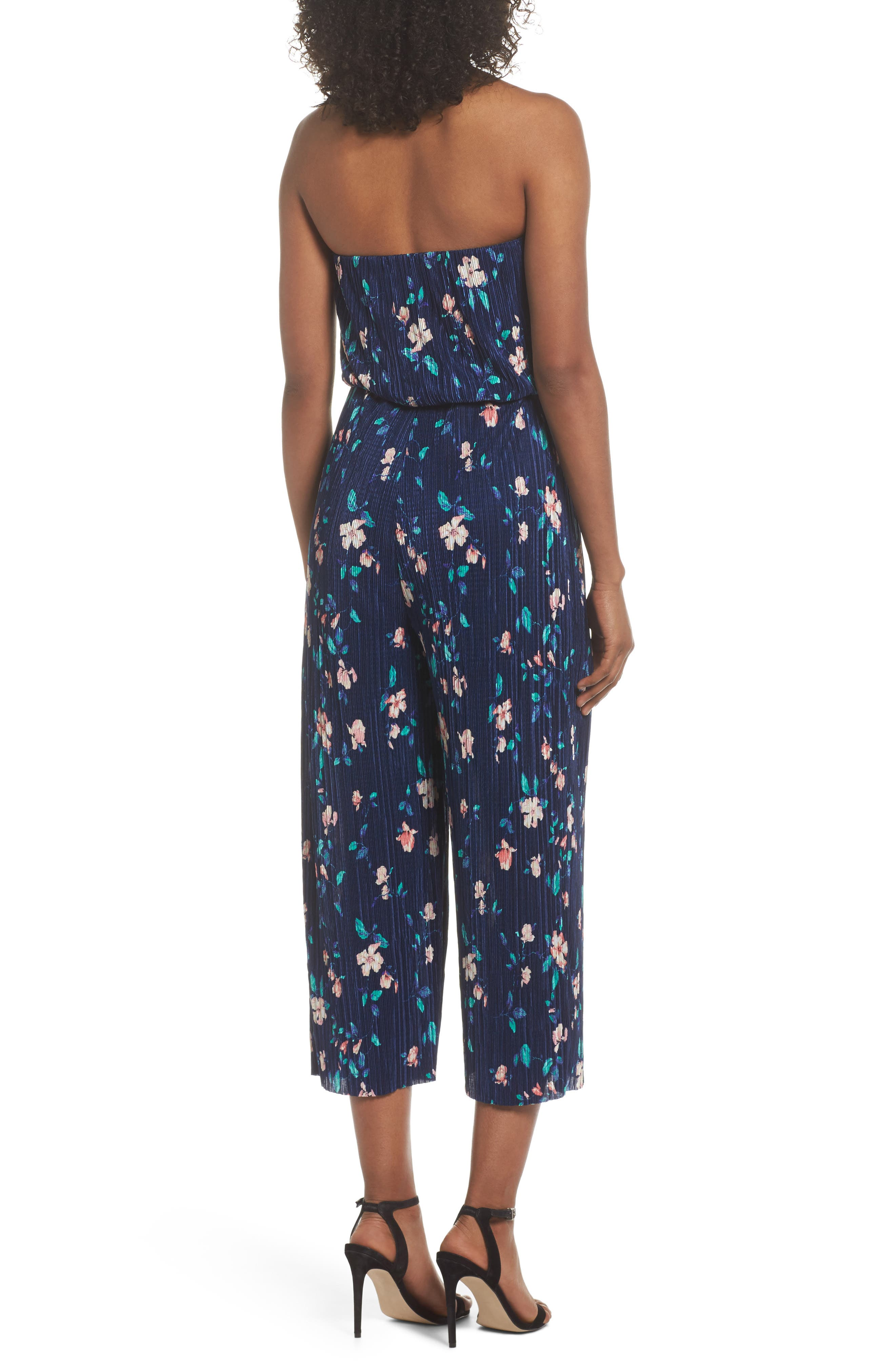 Strapless Culotte Jumpsuit,                             Alternate thumbnail 2, color,                             Navy/ Pink