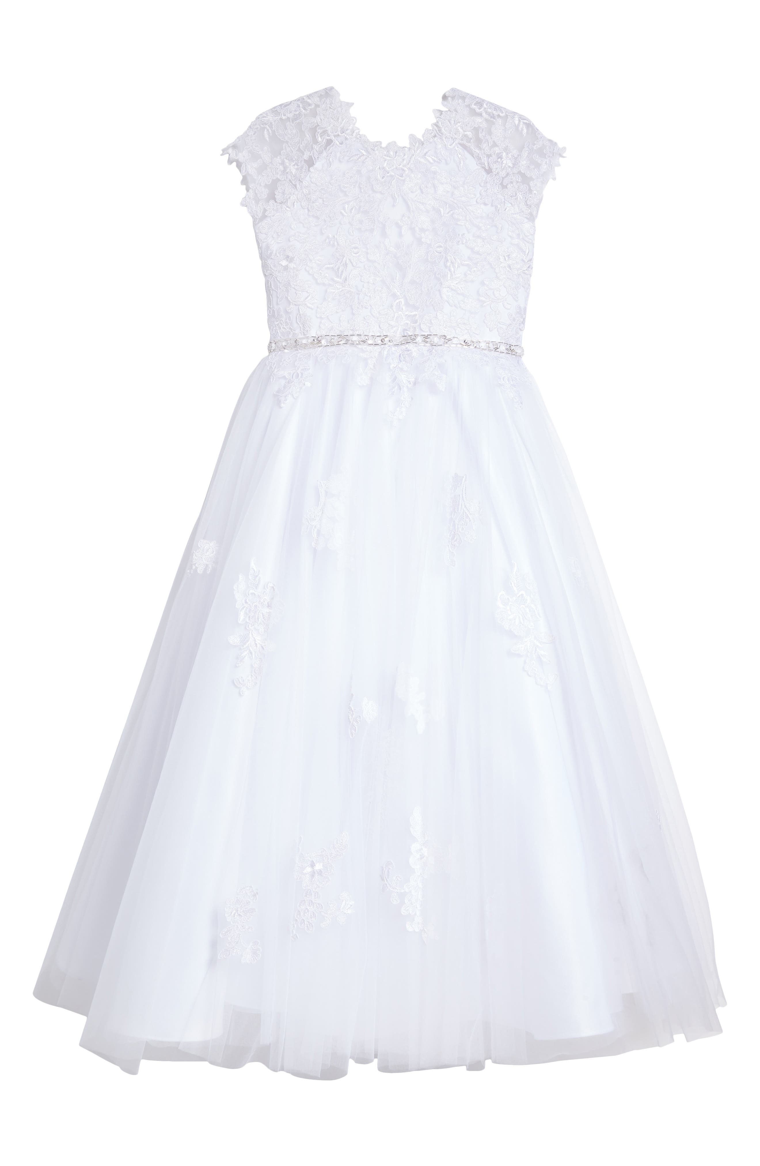 Lace Appliqué Tulle First Communion Dress,                             Main thumbnail 1, color,                             White