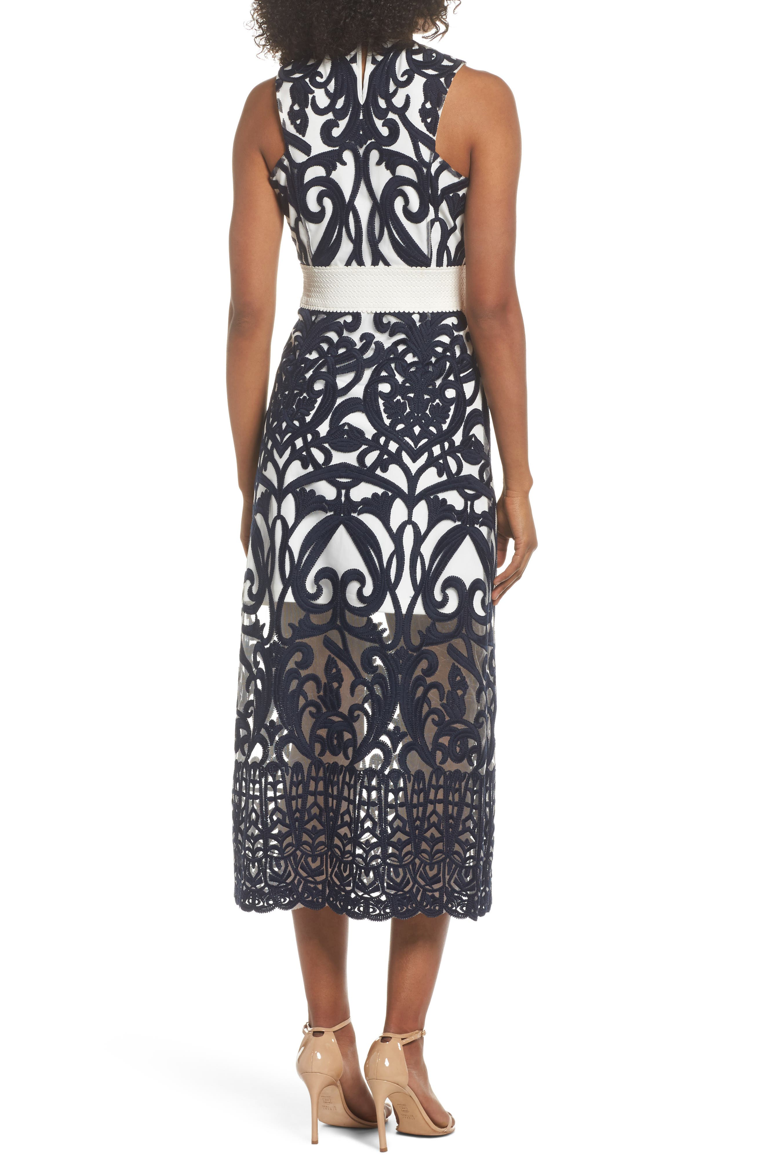 Alternate Image 2  - Foxiedox Rosabel Embroidered Midi Dress