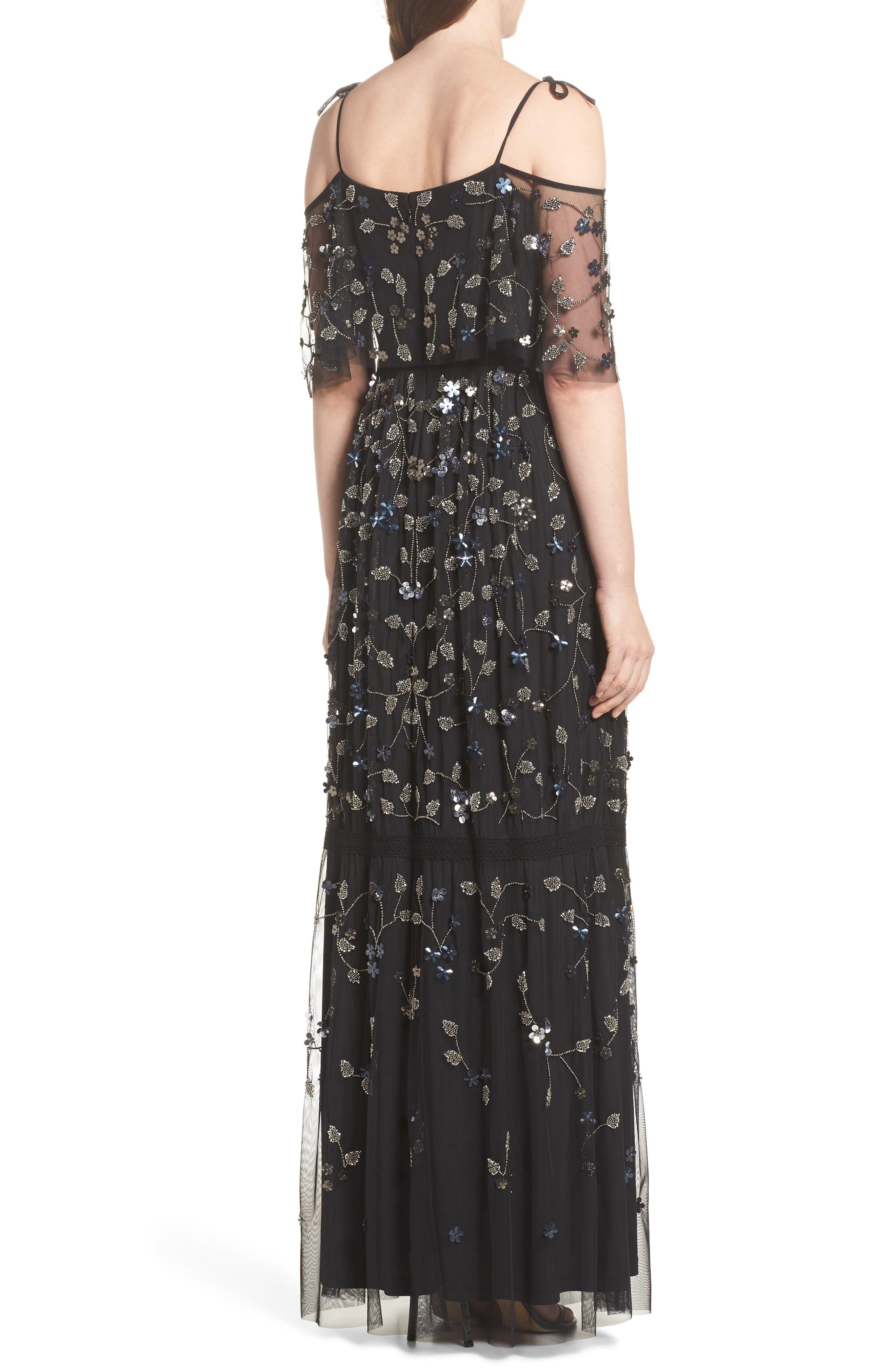 Beaded Cold Shoulder Gown,                             Alternate thumbnail 2, color,                             Black Multi