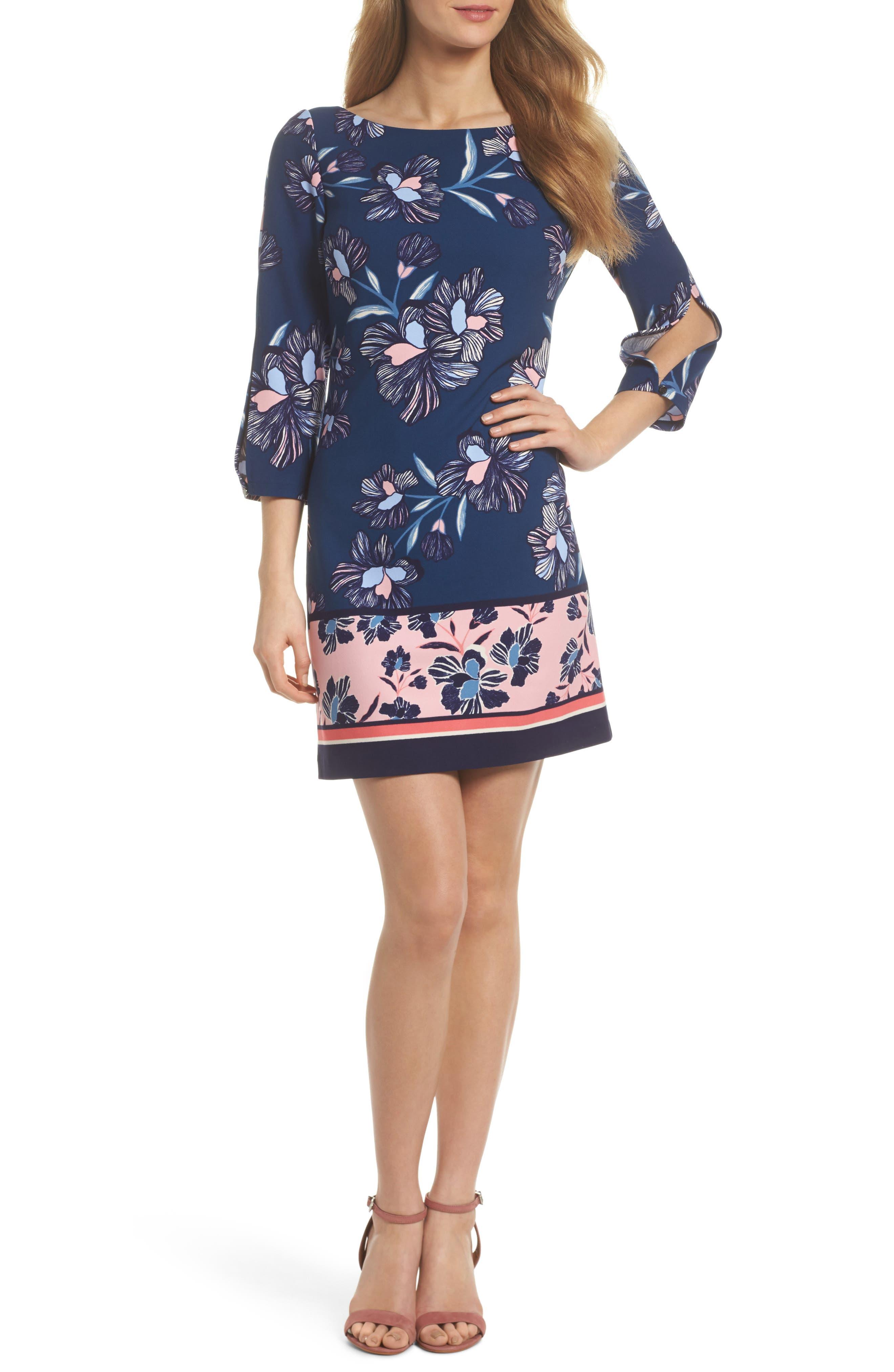 Floral Print Crepe Shift Dress,                             Main thumbnail 1, color,                             Navy Multi