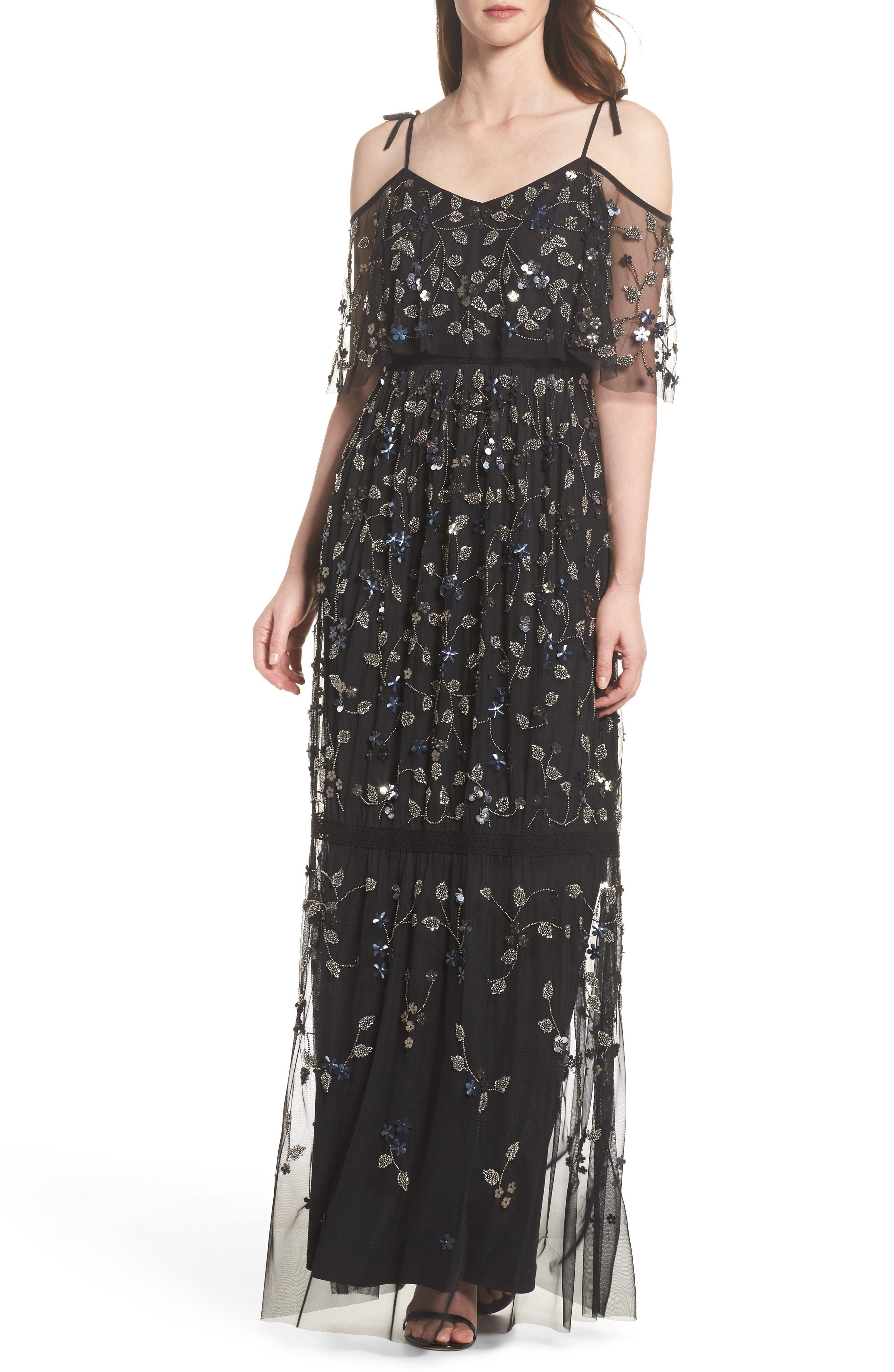 Beaded Cold Shoulder Gown,                         Main,                         color, Black Multi