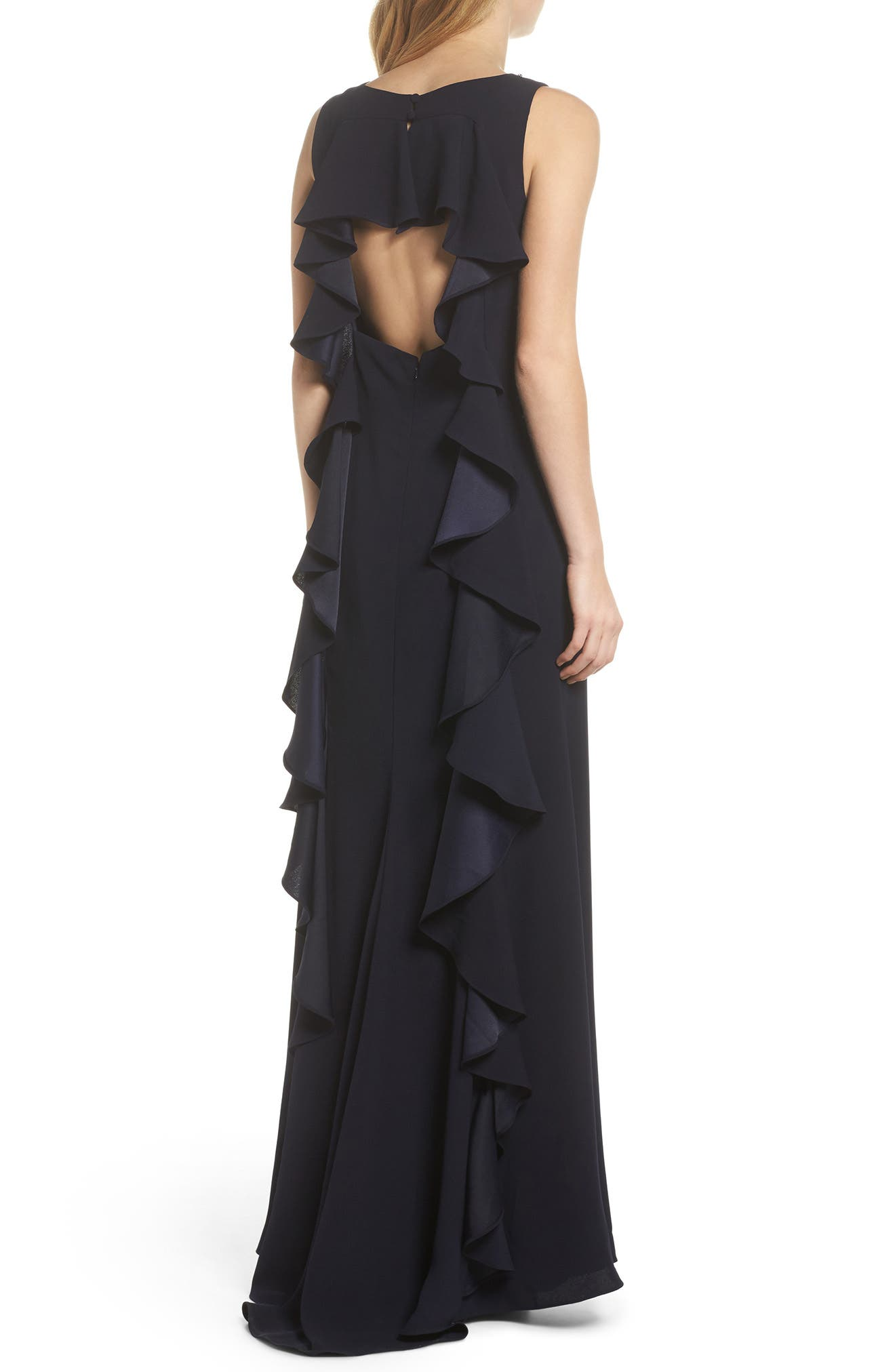 Embellished Ruffle Back Crepe Gown,                             Alternate thumbnail 2, color,                             Navy