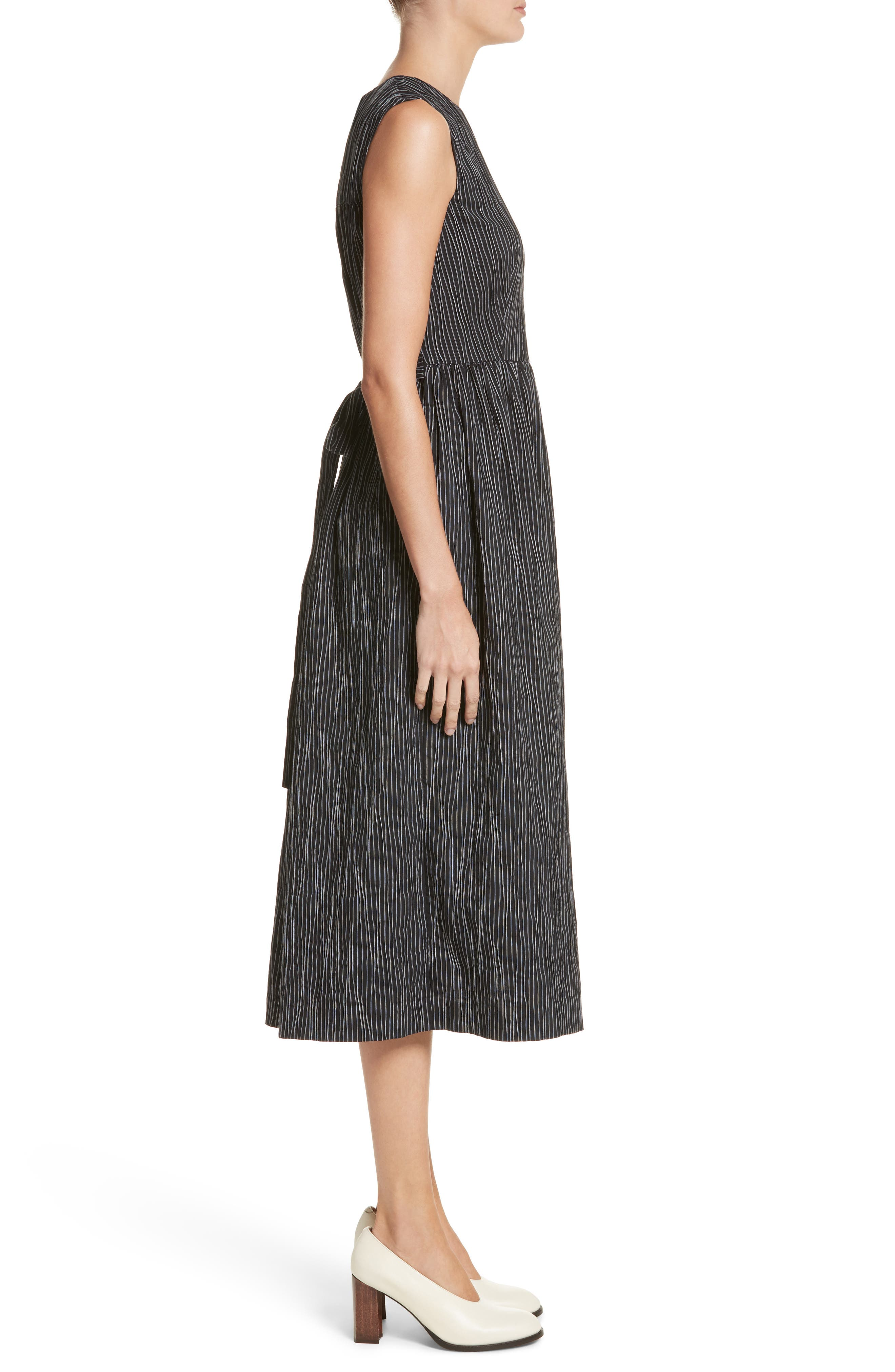 Stripe Crinkle Cotton Blend Midi Dress,                             Alternate thumbnail 3, color,                             Black/ White Stripe