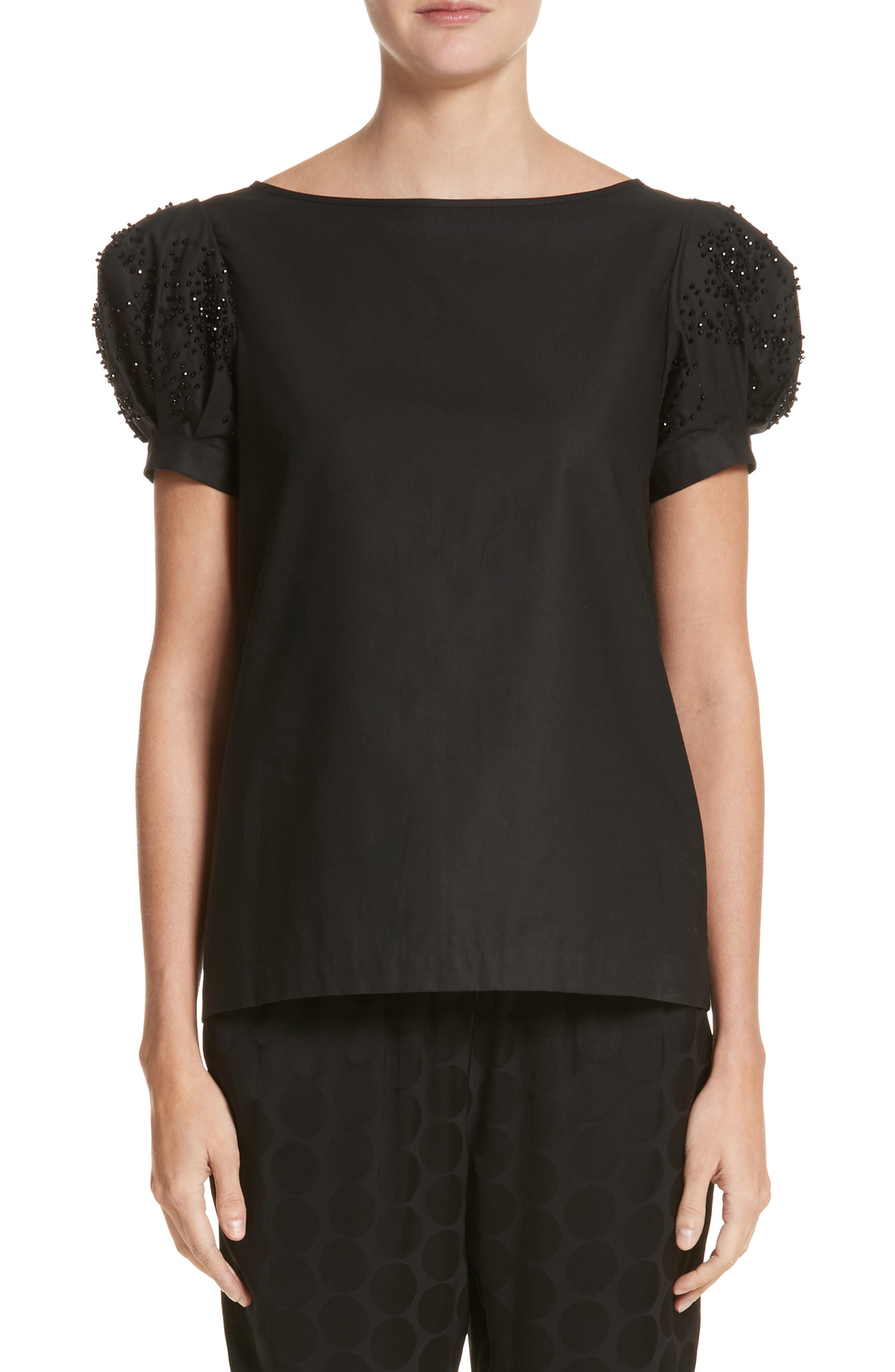 Co Beaded Puff Sleeve Cotton Top