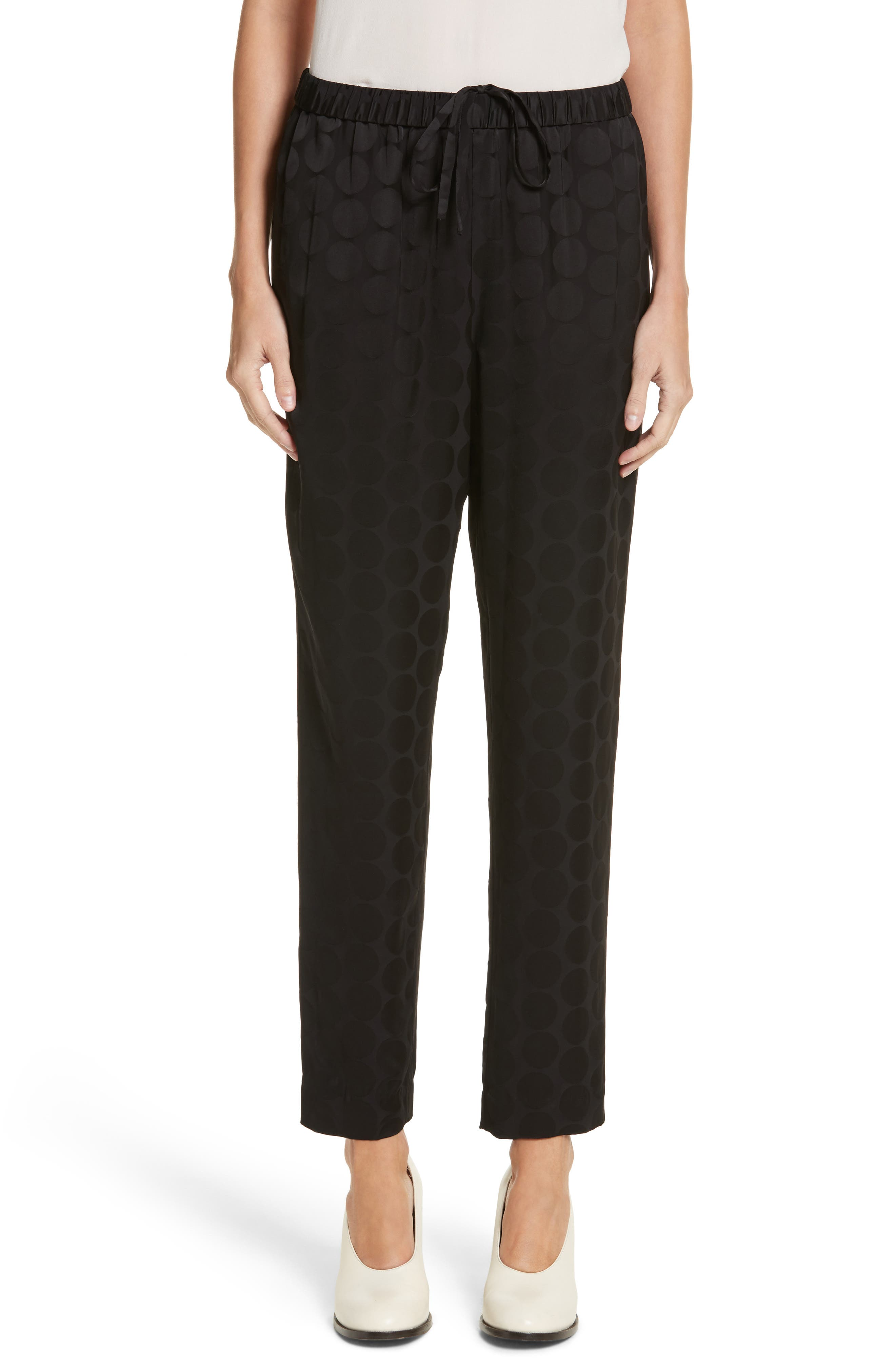 Tonal Dot Ankle Pants,                         Main,                         color, Black