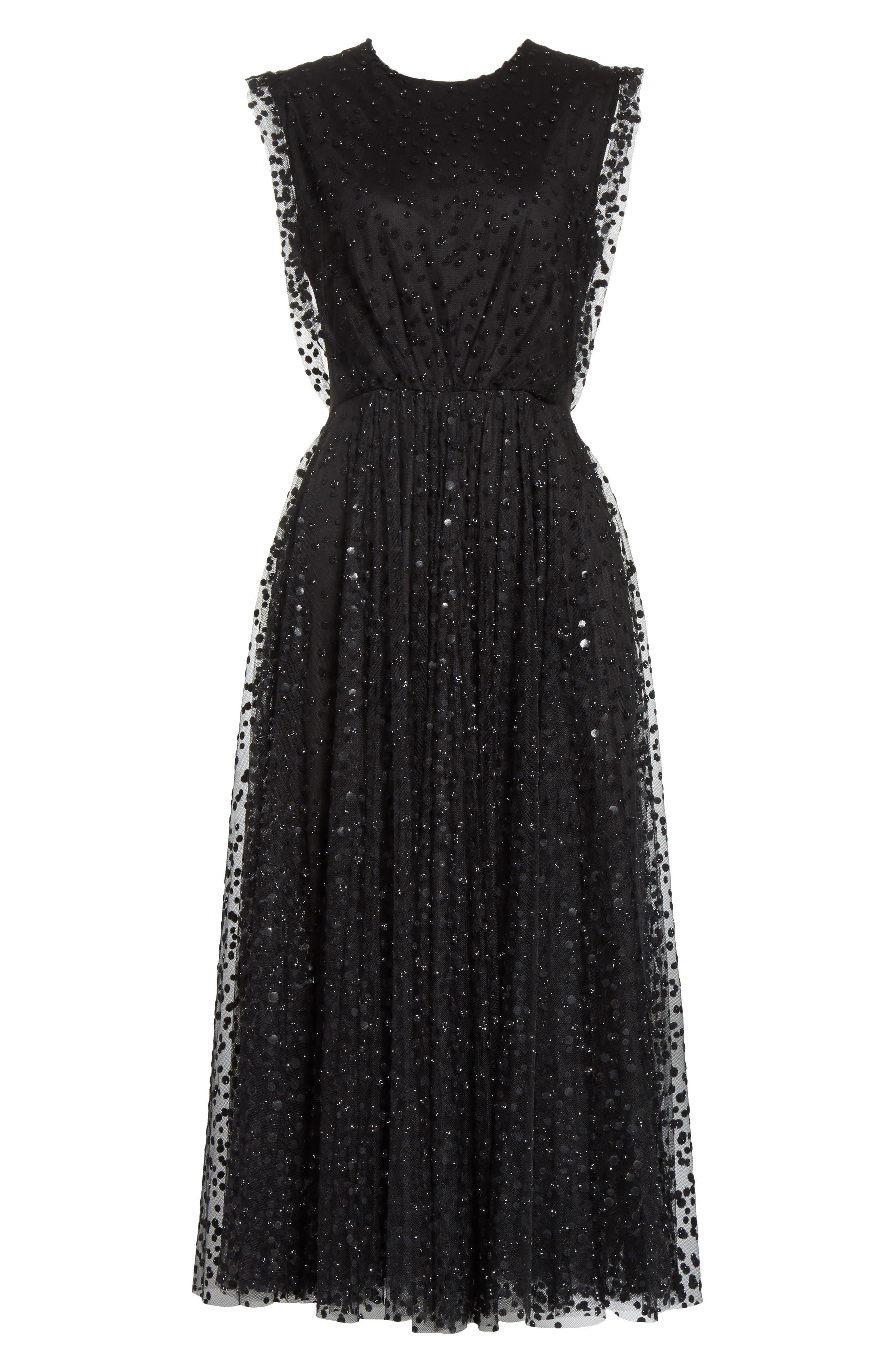 Sparkle Dot Tulle Midi Dress,                             Alternate thumbnail 6, color,                             Black