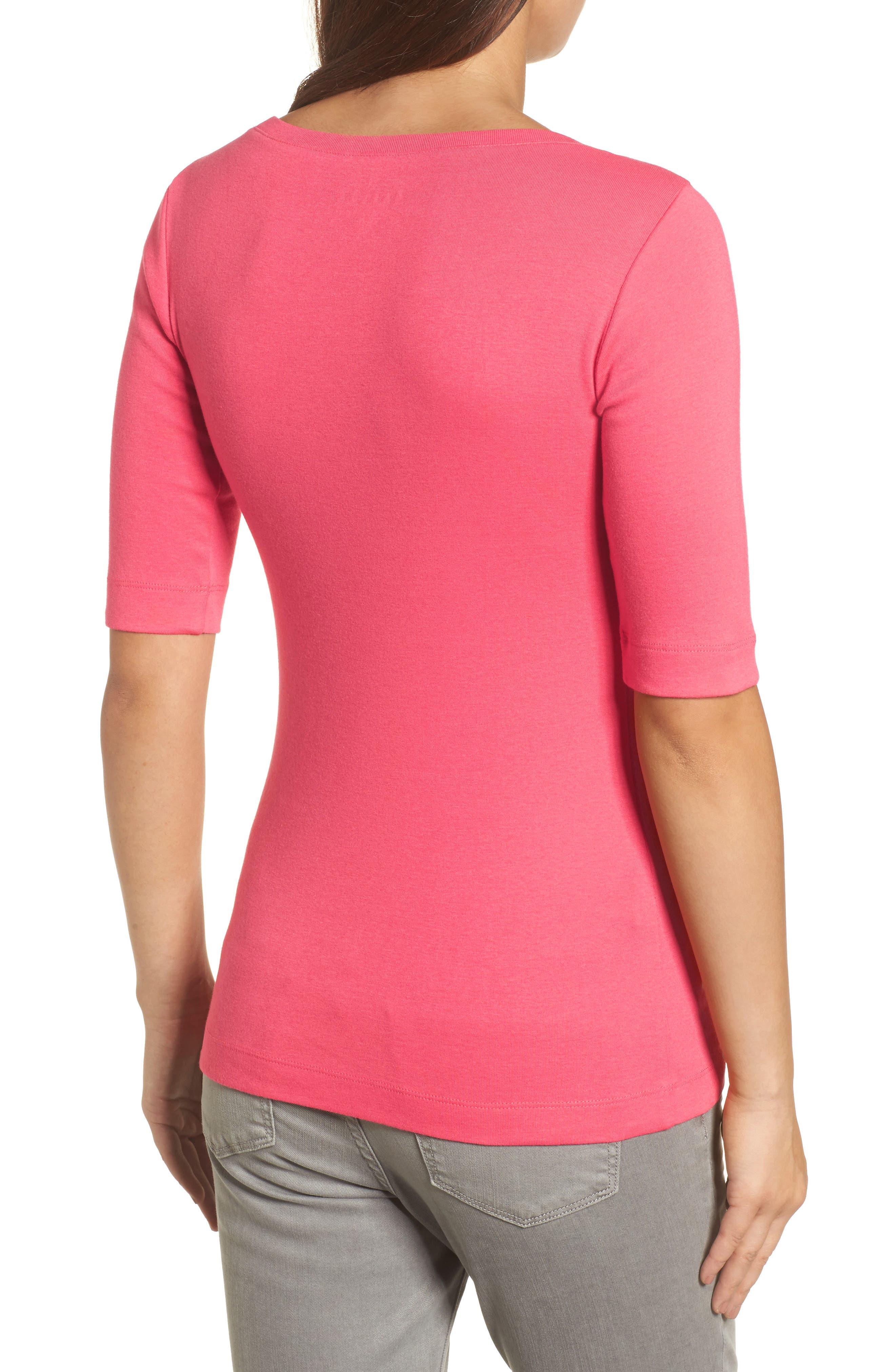 Ballet Neck Cotton & Modal Knit Elbow Sleeve Tee,                             Alternate thumbnail 2, color,                             Pink Ribbon
