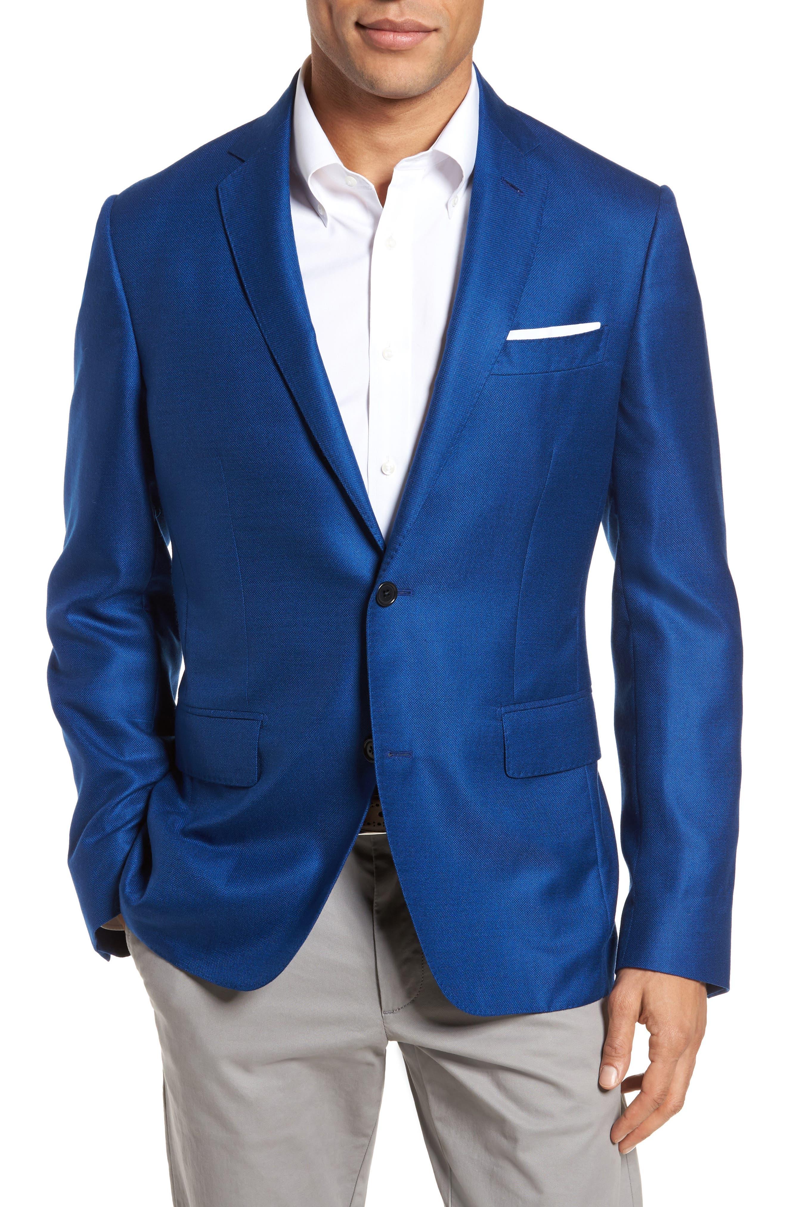 Trim Fit Cashmere & Silk Blazer,                         Main,                         color, Blue