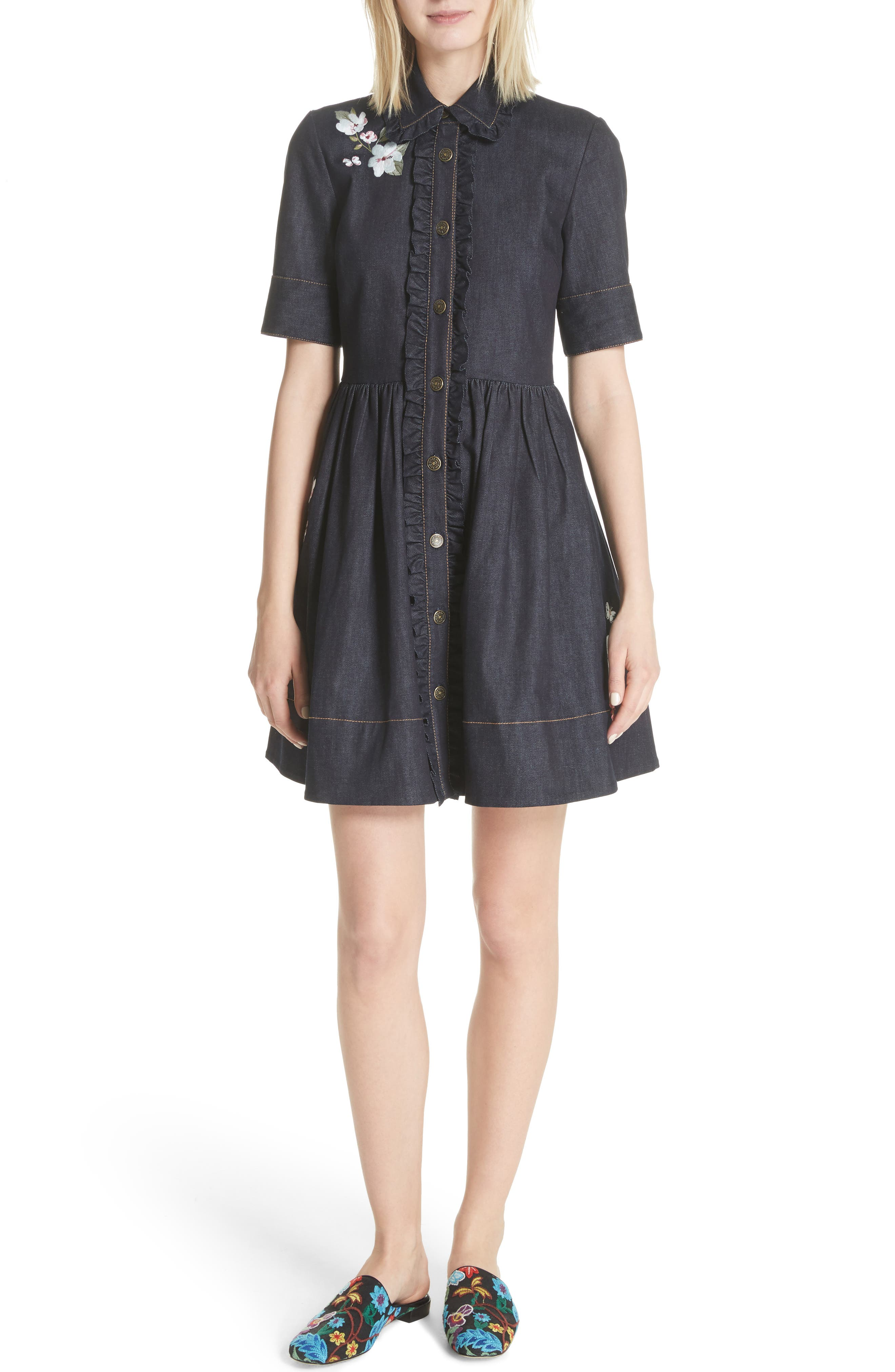 kate spade new york embroidered denim shirtdress