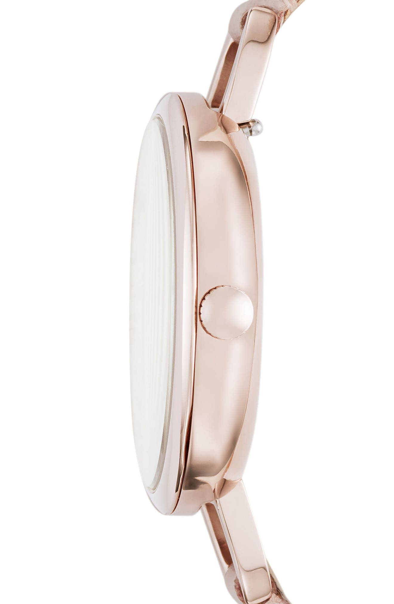 Annette Leather Strap Watch, 36mm,                             Alternate thumbnail 2, color,                             Pink/ Silver/ Pink
