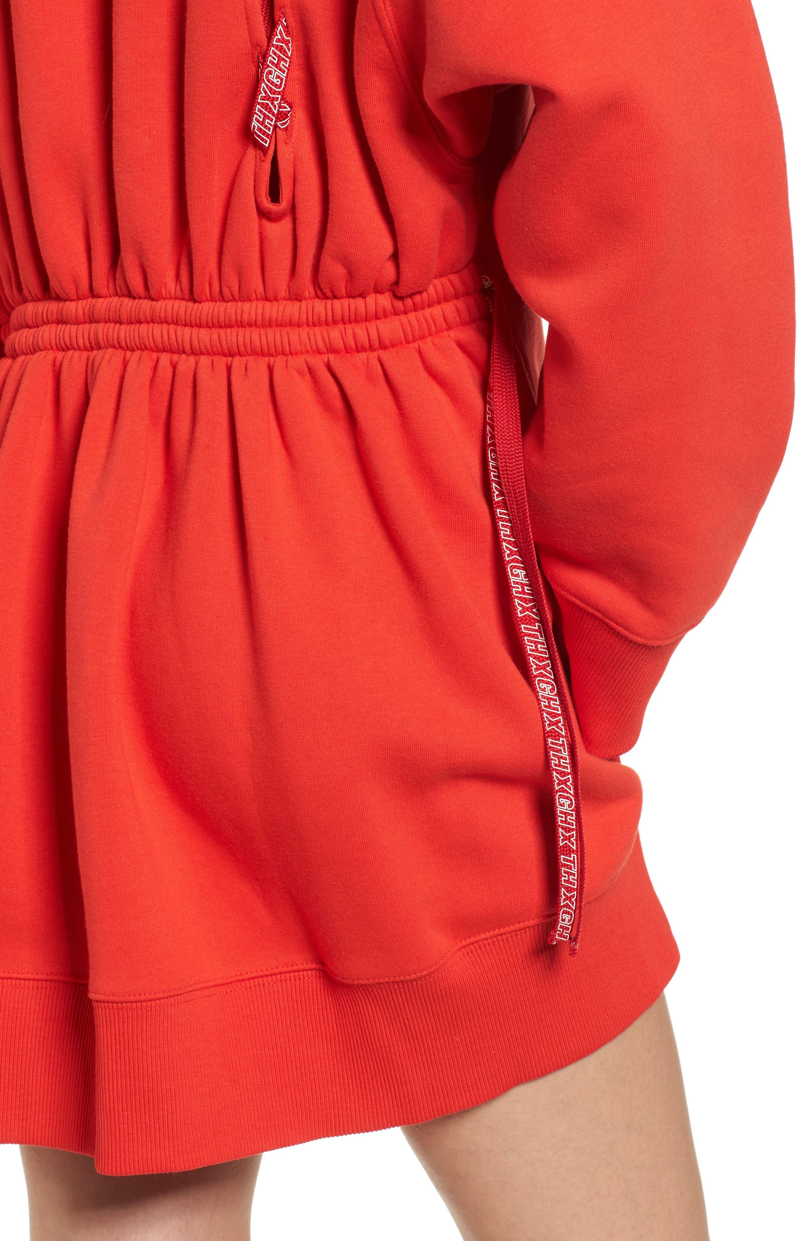x Gigi Hadid Sweatshirt Dress,                             Alternate thumbnail 4, color,                             Flame Scarlet
