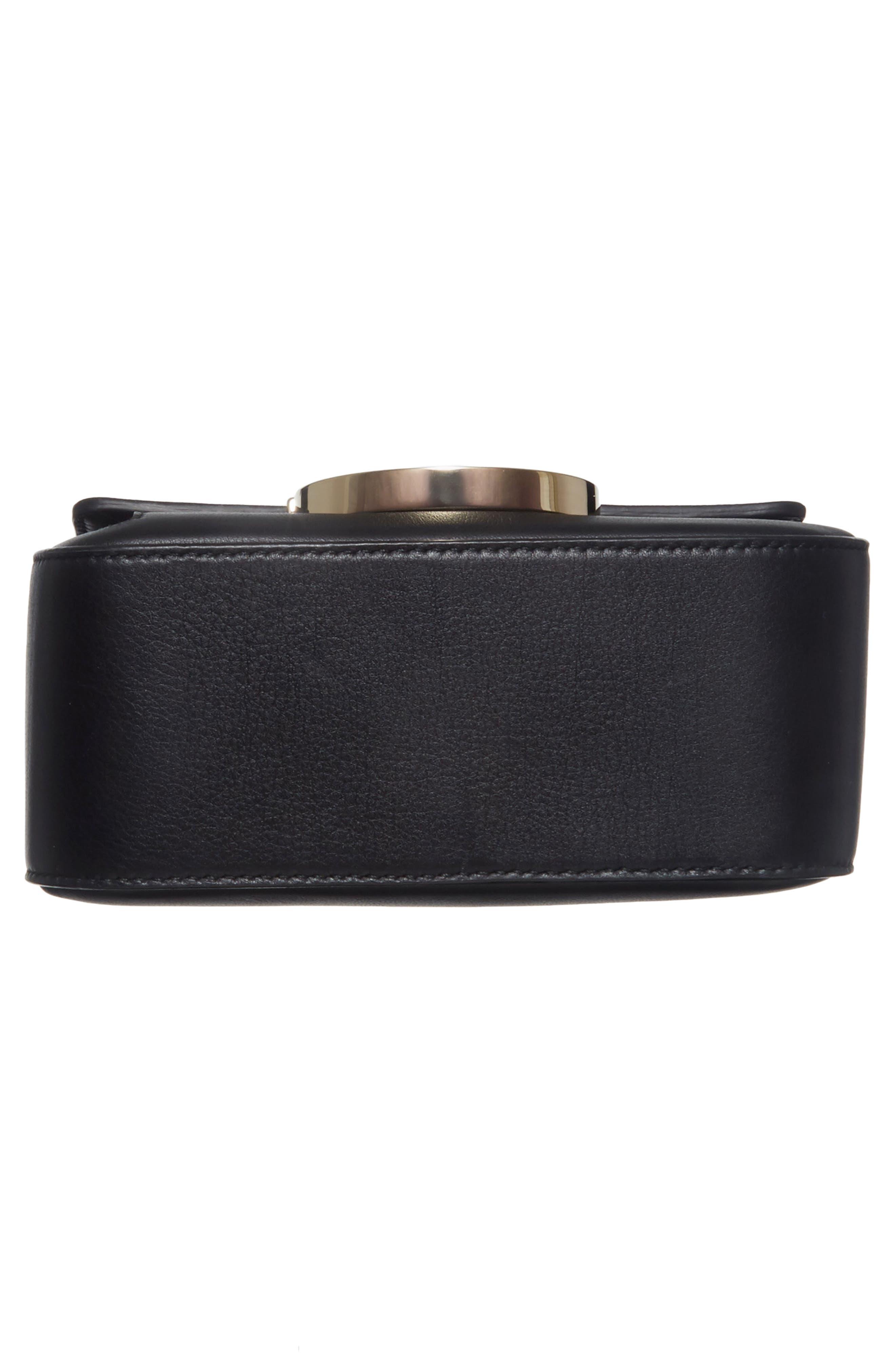 Gancio Lock Leather Crossbody Bag,                             Alternate thumbnail 6, color,                             Nero