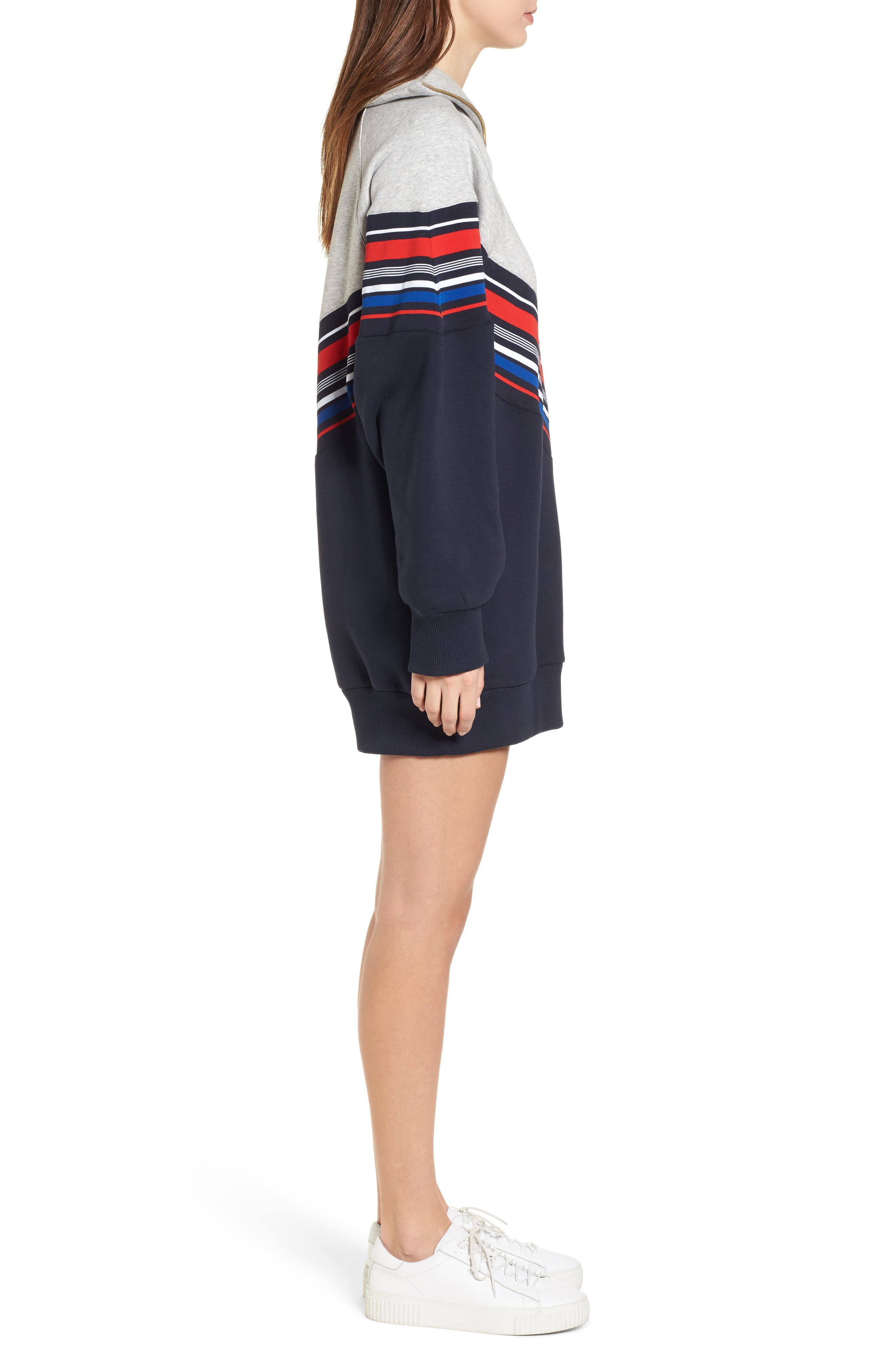 x Gigi Hadid Racing Sweatshirt Dress,                             Alternate thumbnail 3, color,                             Midnight/ Hthr
