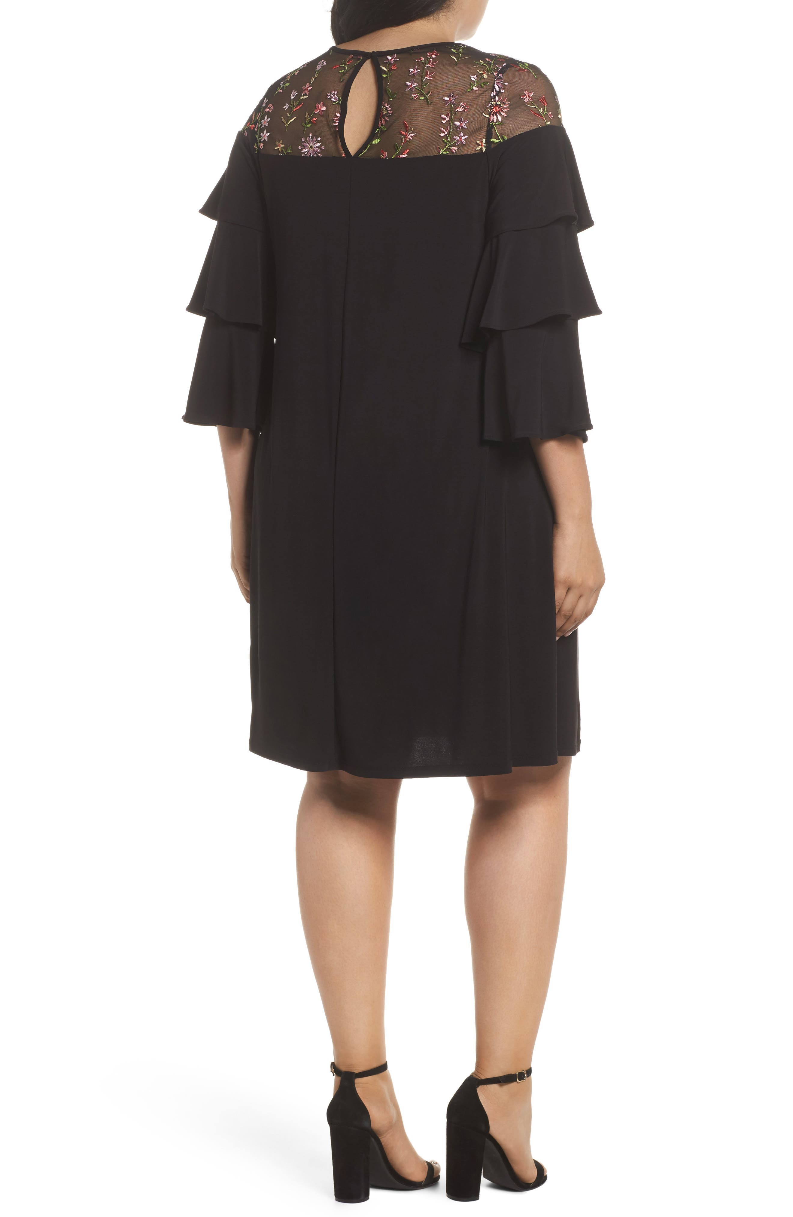 Ruffled Sleeve Embroidered Yoke A-Line Dress,                             Alternate thumbnail 2, color,                             Black/ Coral