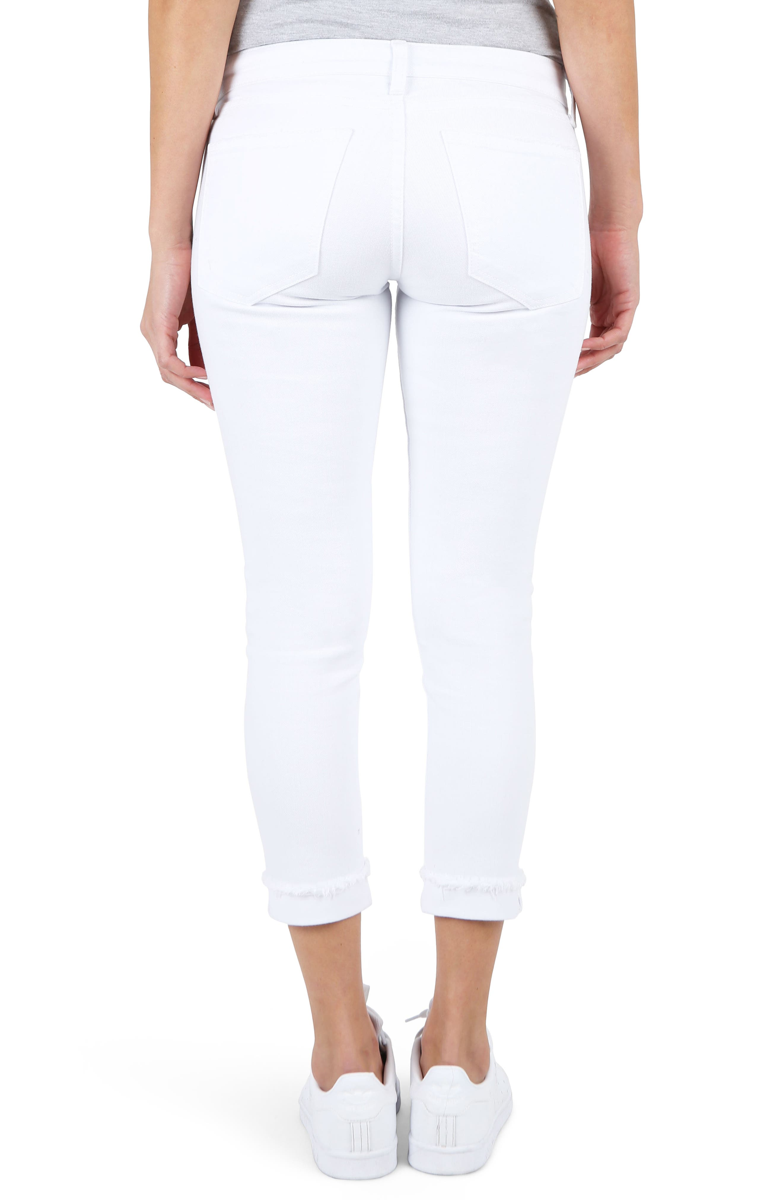 KUT Kollection Amy Crop White Jeans,                             Alternate thumbnail 2, color,                             Optical White