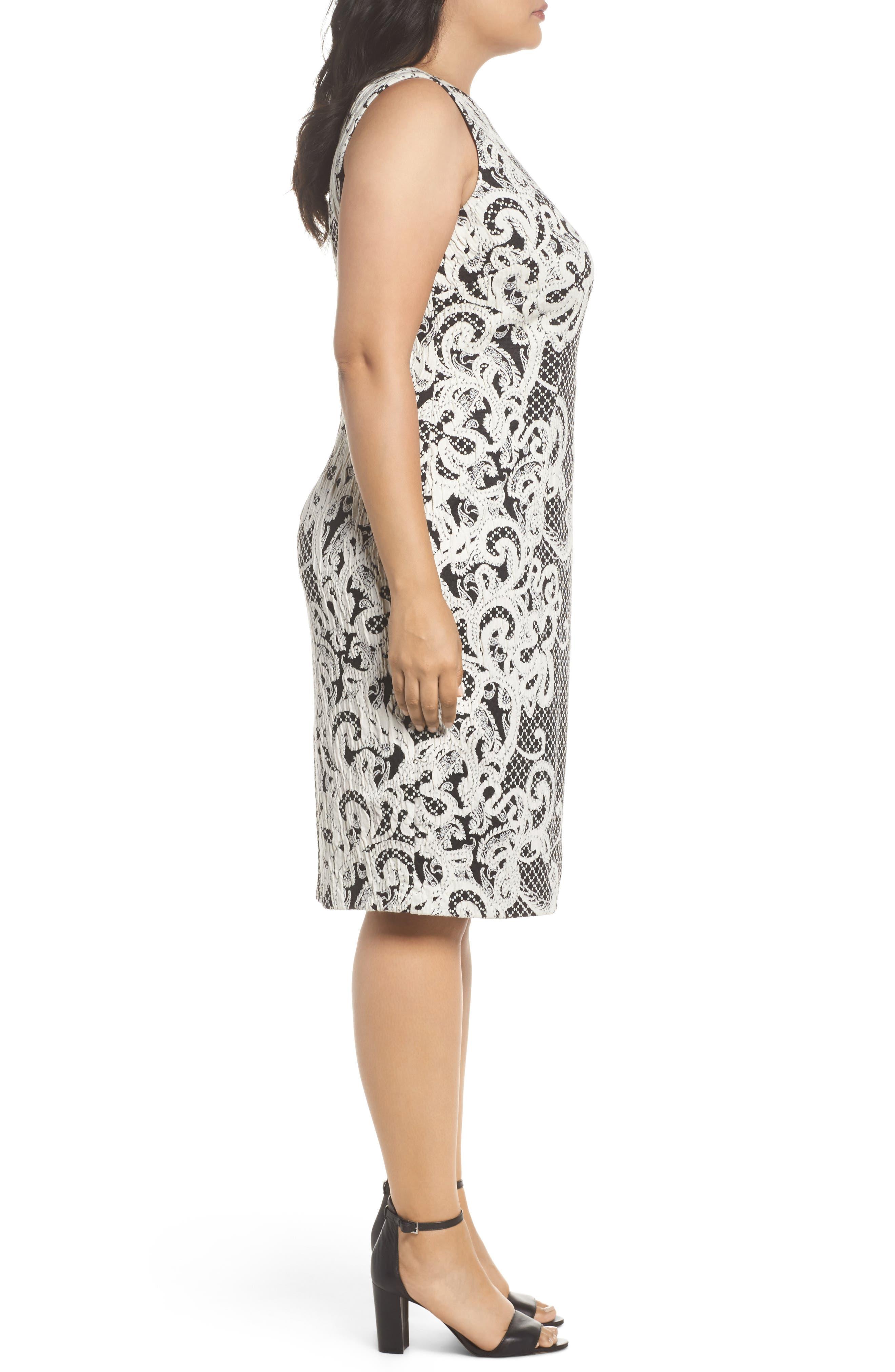 Scroll Border Knit Sheath Dress,                             Alternate thumbnail 3, color,                             Black/ Ivory