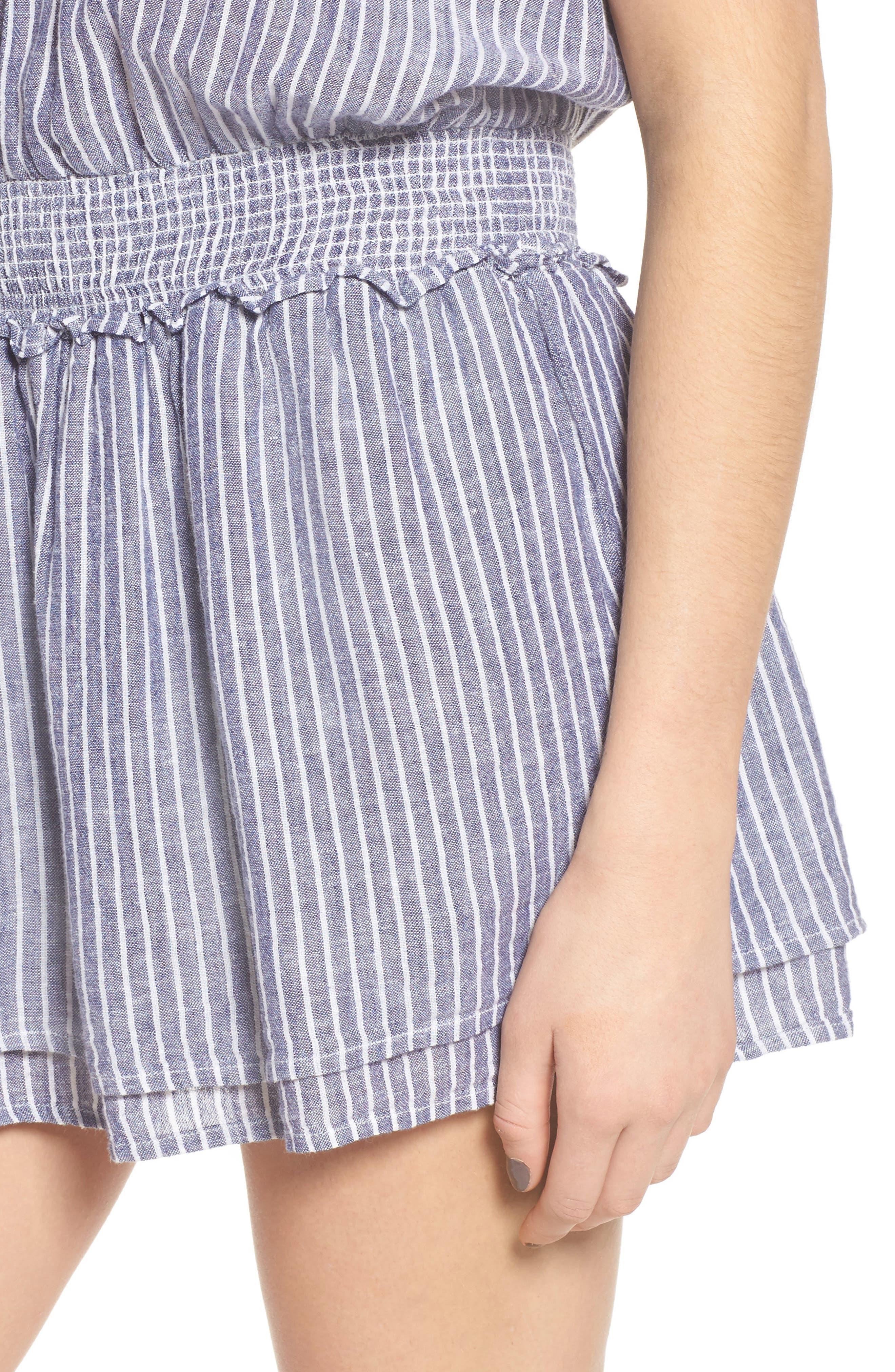 Lucca Linen Blend Dress,                             Alternate thumbnail 4, color,                             Terrenas Stripe