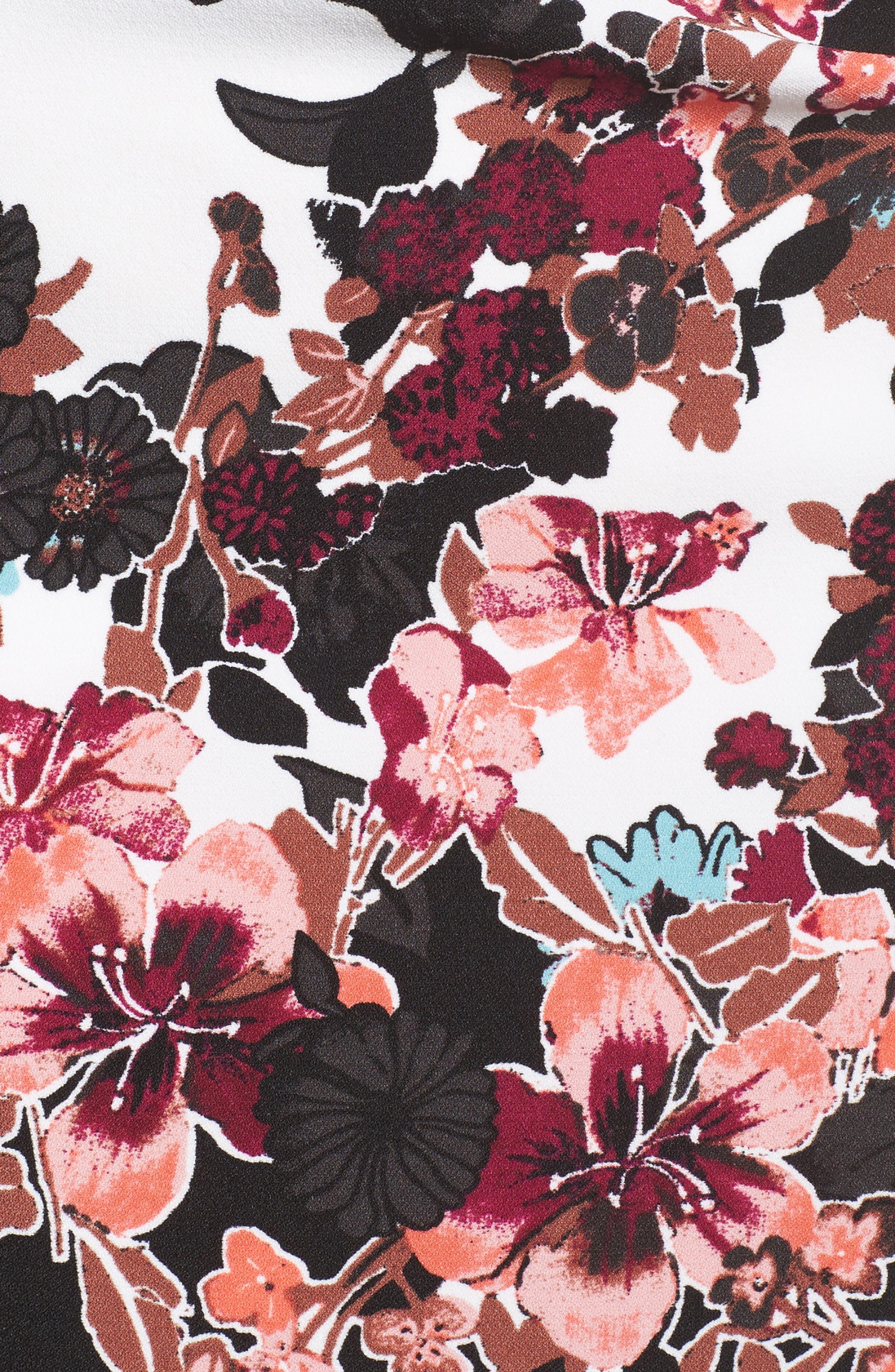 Floral Bliss Cowl Neck Sheath Dress,                             Alternate thumbnail 5, color,                             Ivory Multi
