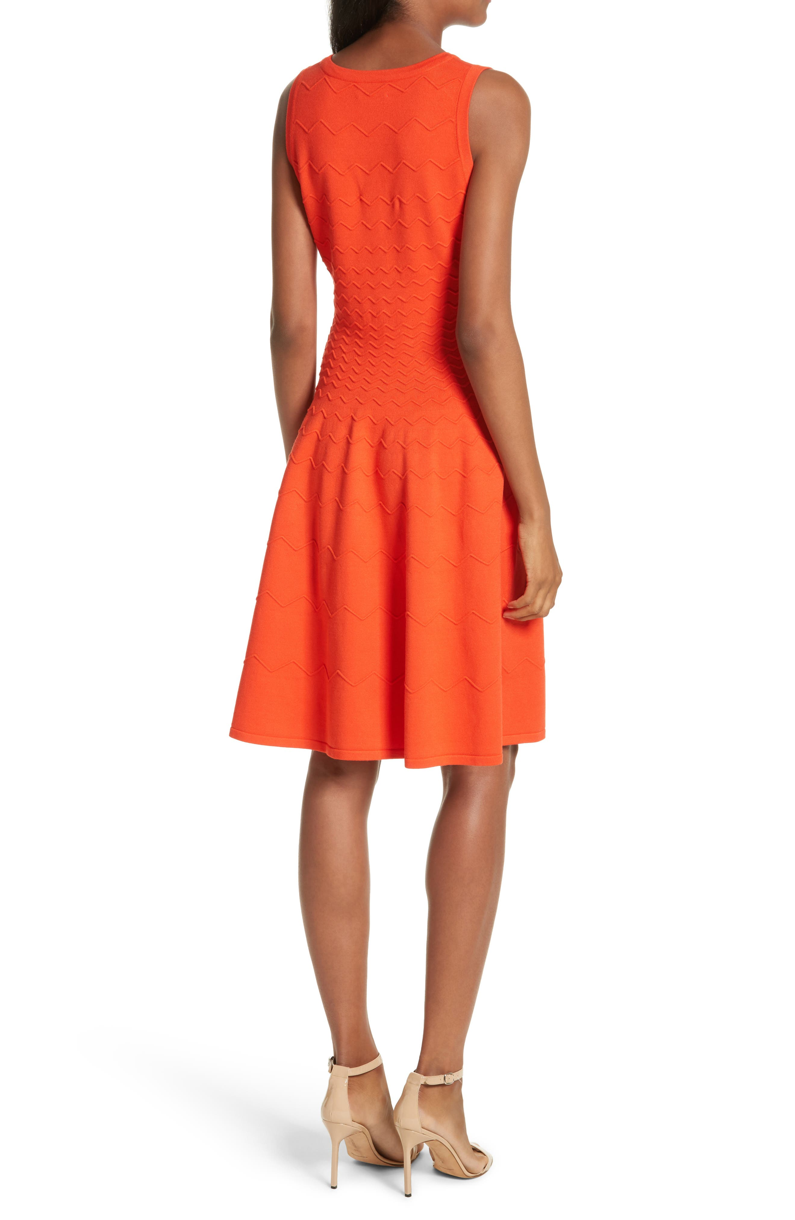 Dégradé Chevron Fit & Flare Dress,                             Alternate thumbnail 2, color,                             Poppy