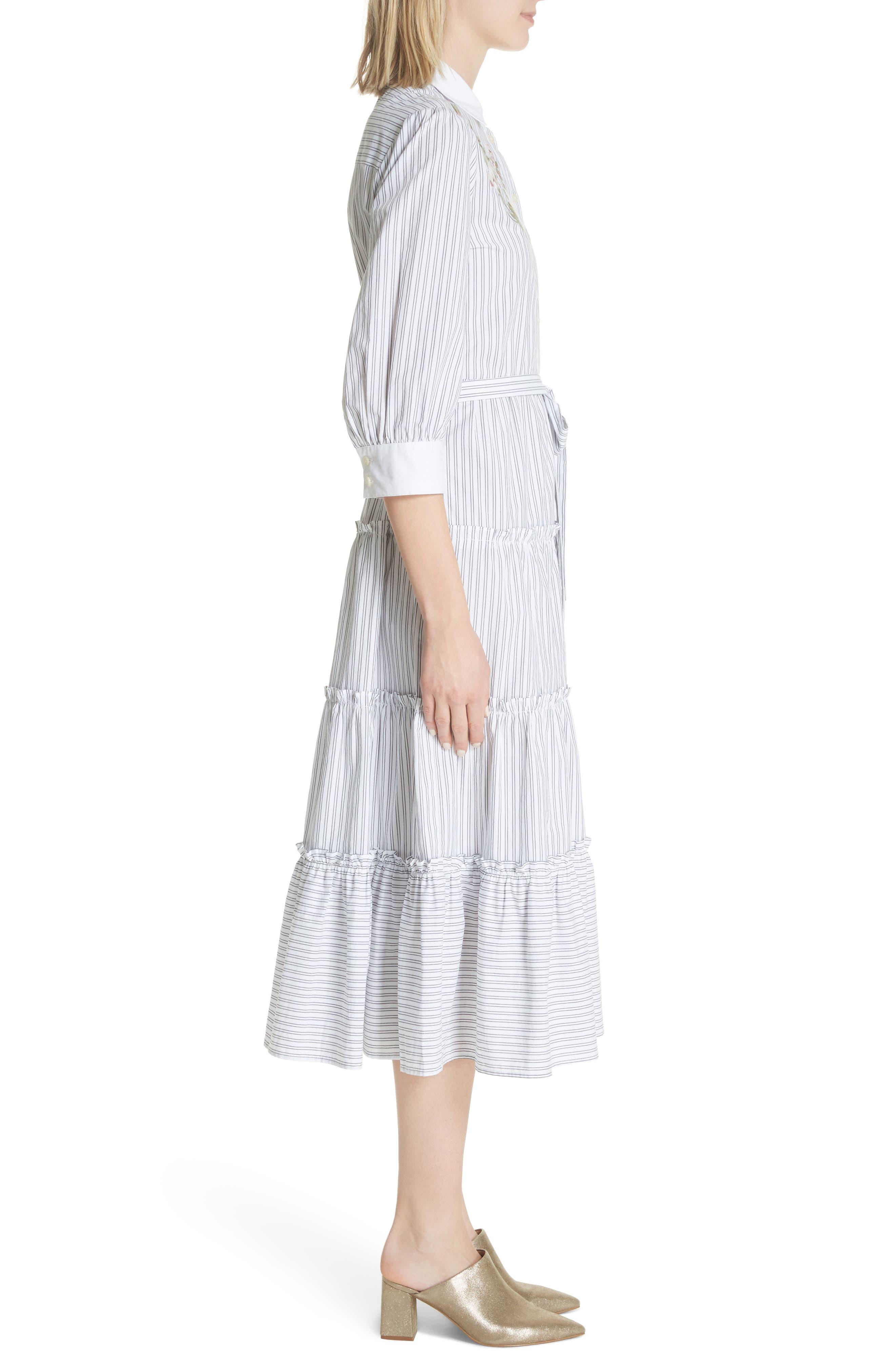 embroidered ruffle trim shirtdress,                             Alternate thumbnail 3, color,                             Fresh White/ Black