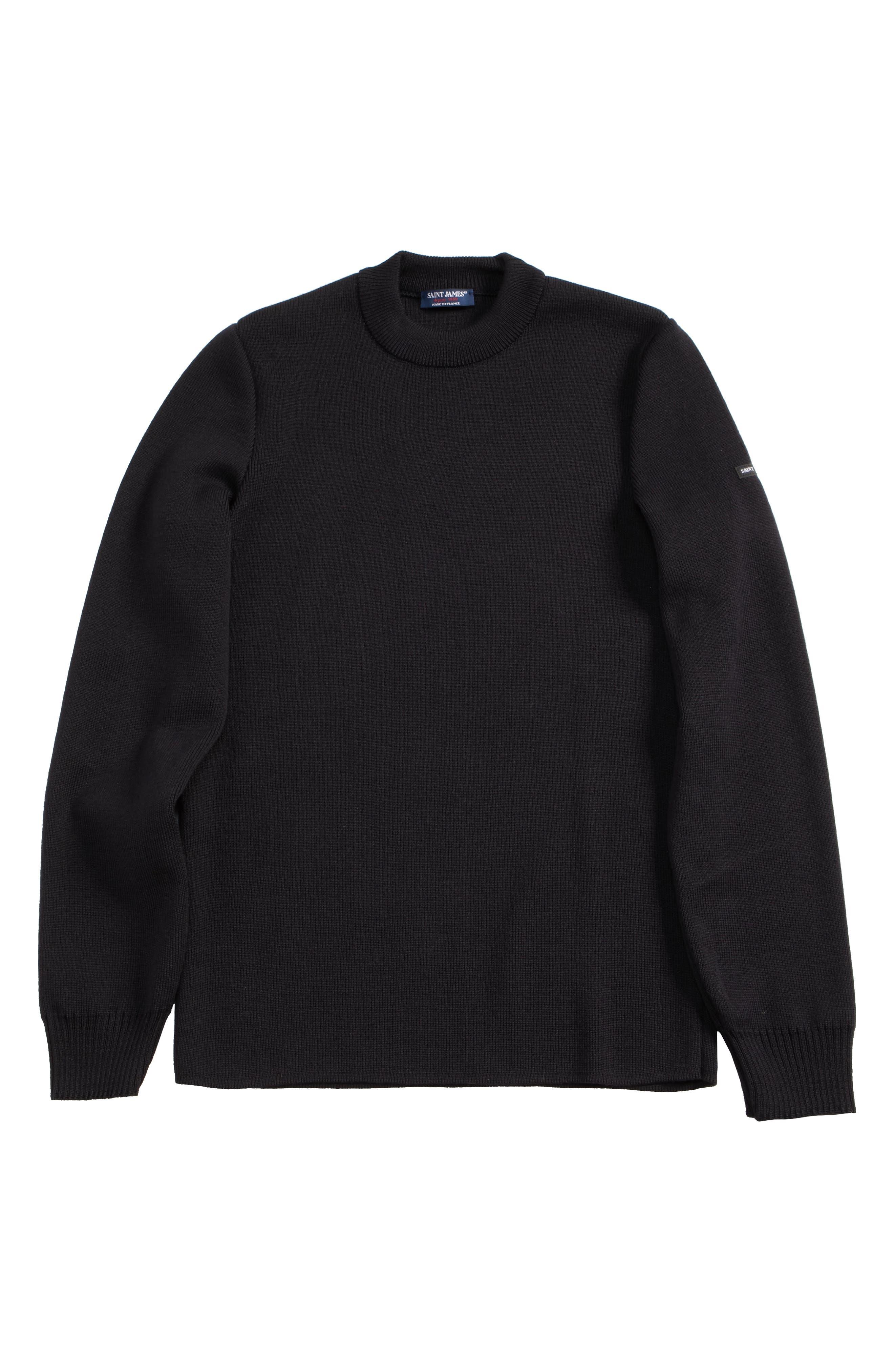Men's Water Repellent Crewneck Sweater,                             Alternate thumbnail 6, color,                             Navy