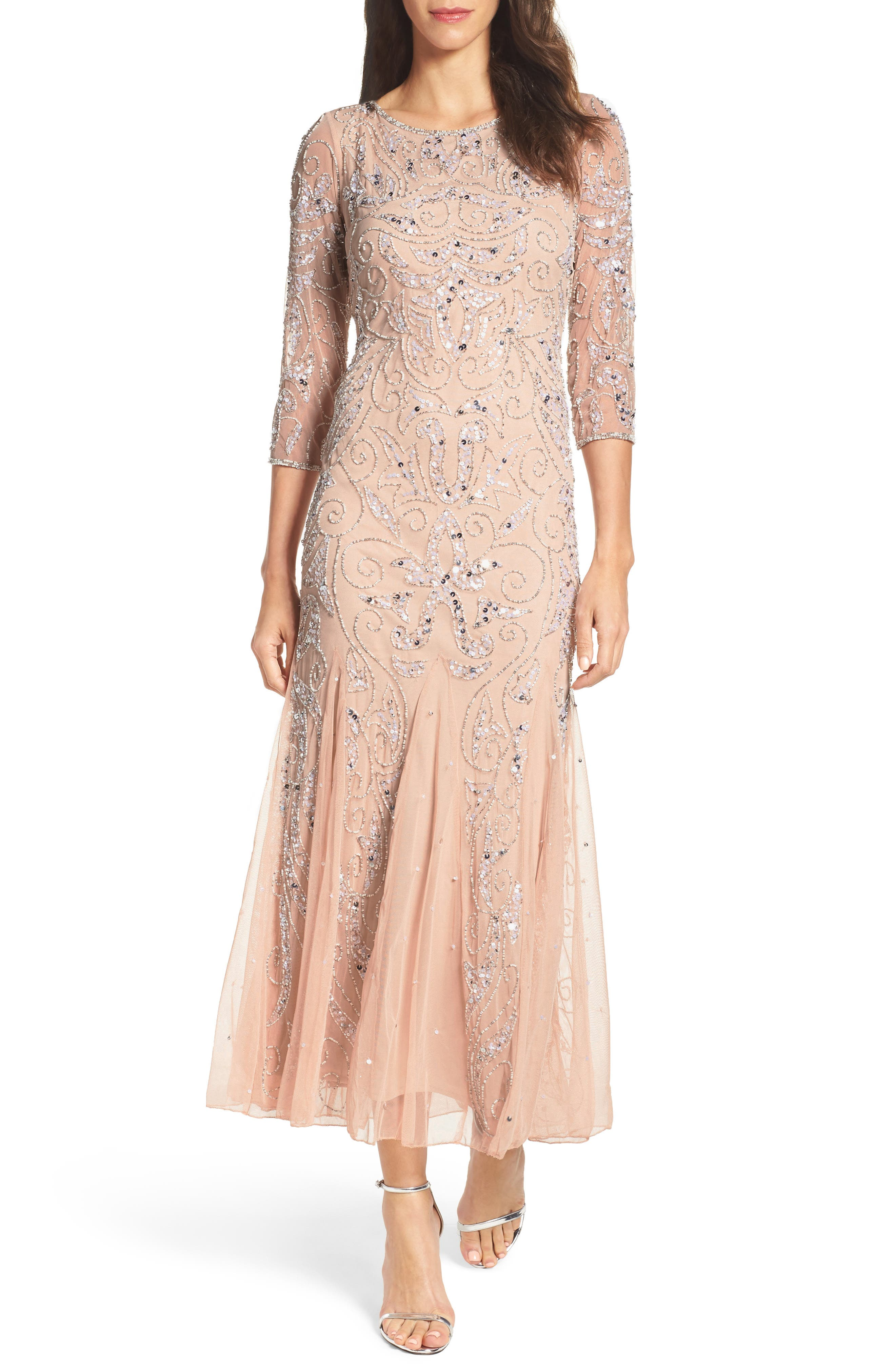 Embellished Mesh Gown,                         Main,                         color, Blush