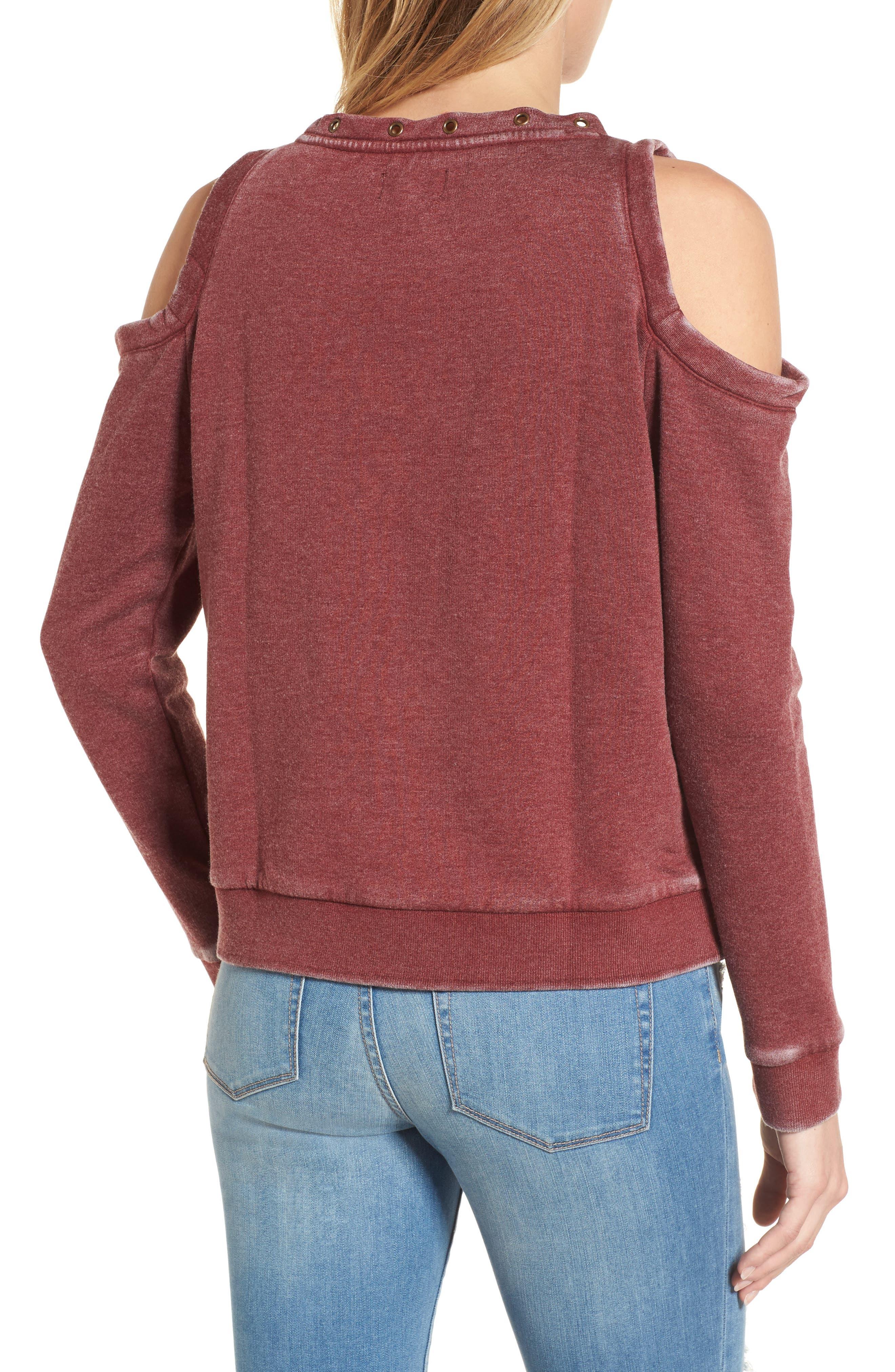 Cold Shoulder Sweatshirt,                             Alternate thumbnail 2, color,                             Burgundy