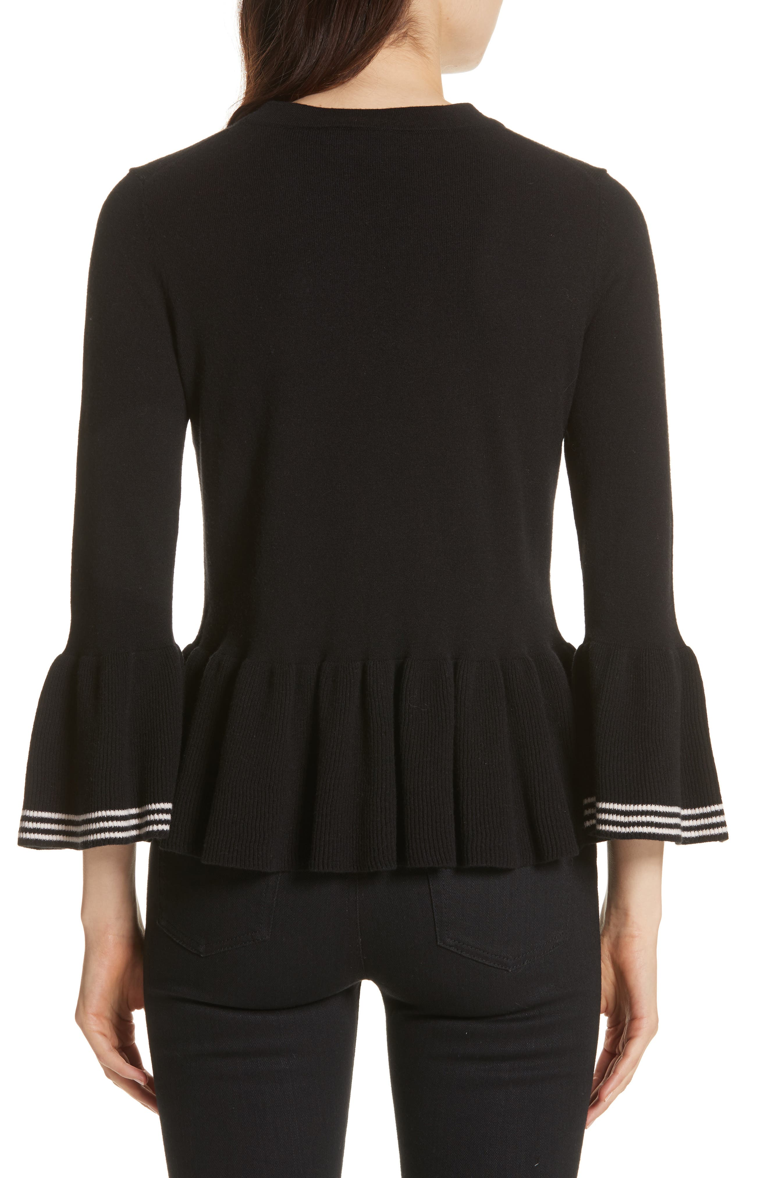 Alternate Image 2  - kate spade new york crochet flower peplum sweater