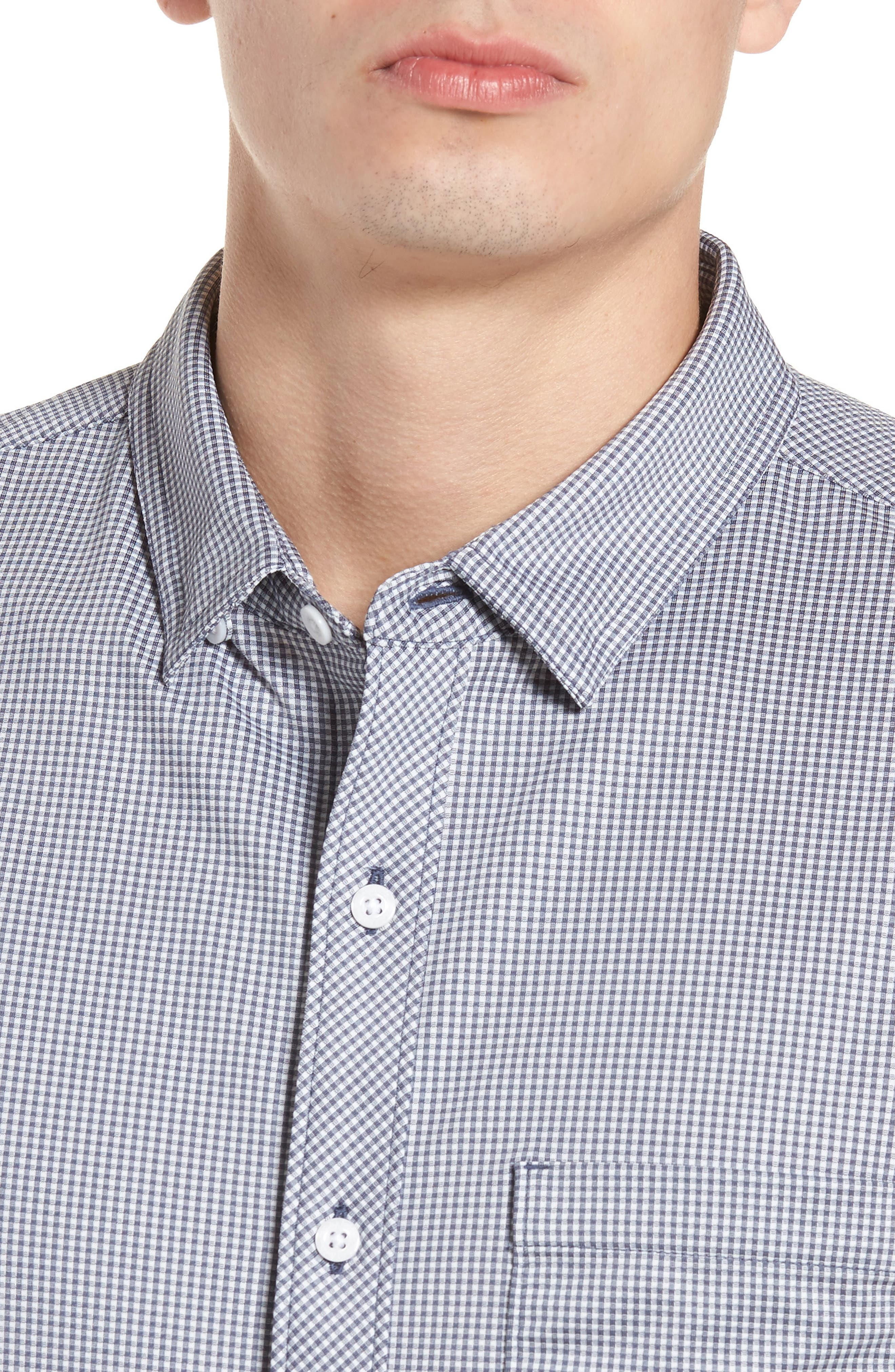 Couig Gingham Sport Shirt,                             Alternate thumbnail 2, color,                             White/ Grisaille